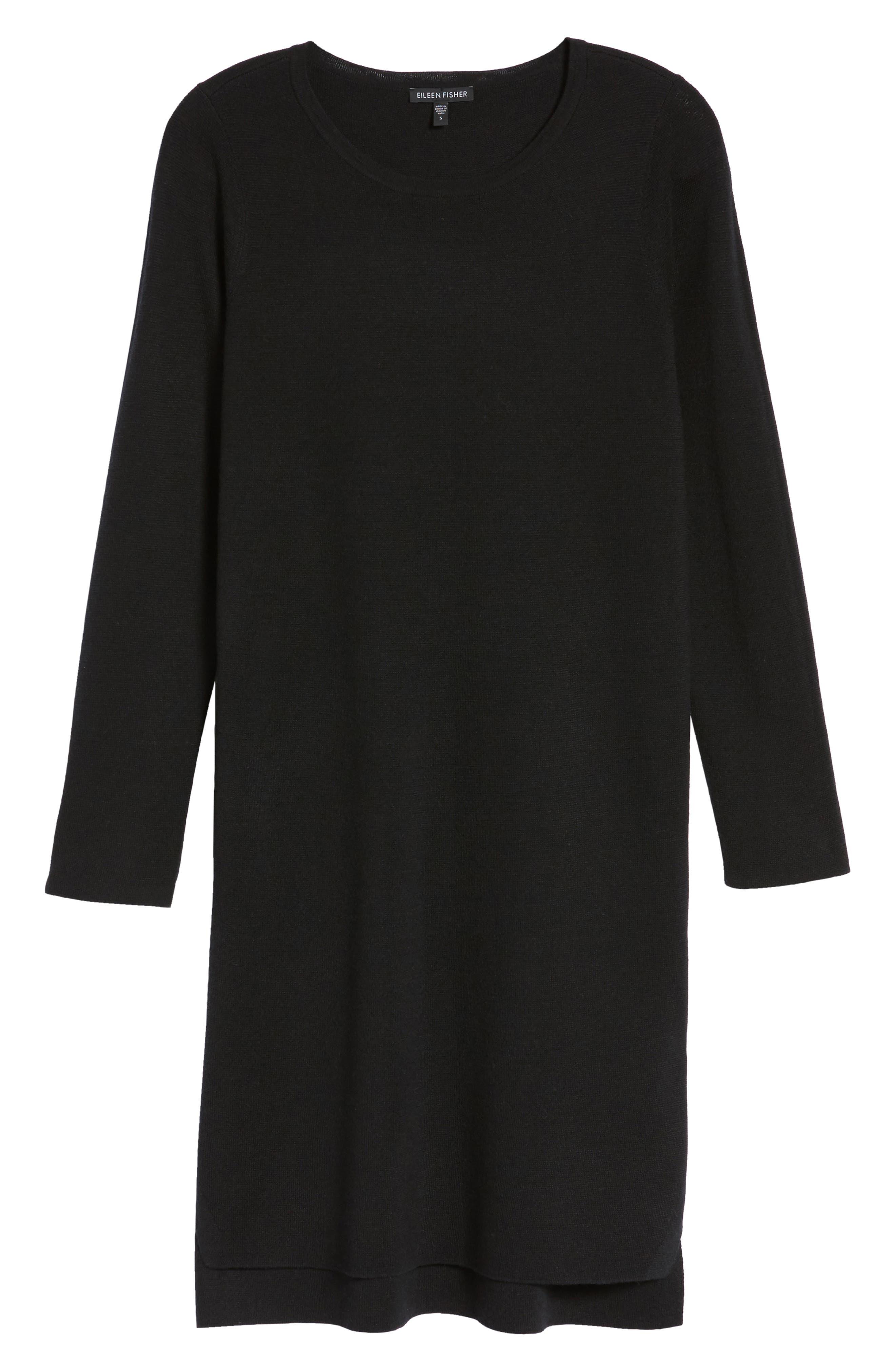 Merino Wool Sweater Dress,                             Alternate thumbnail 6, color,                             001