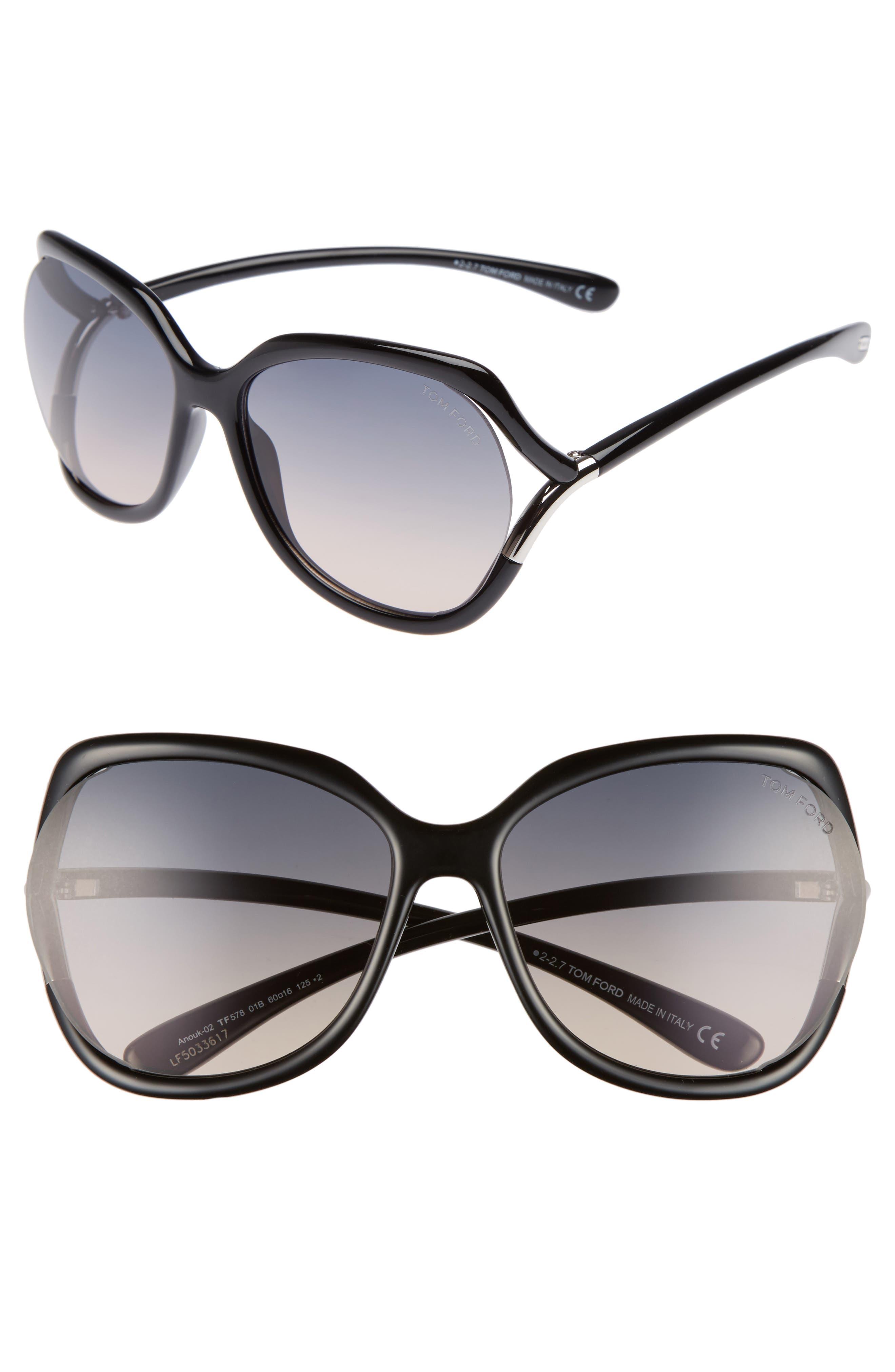 Anouk 60mm Geometric Sunglasses,                             Main thumbnail 1, color,                             BLACK/ GRADIENT SMOKE