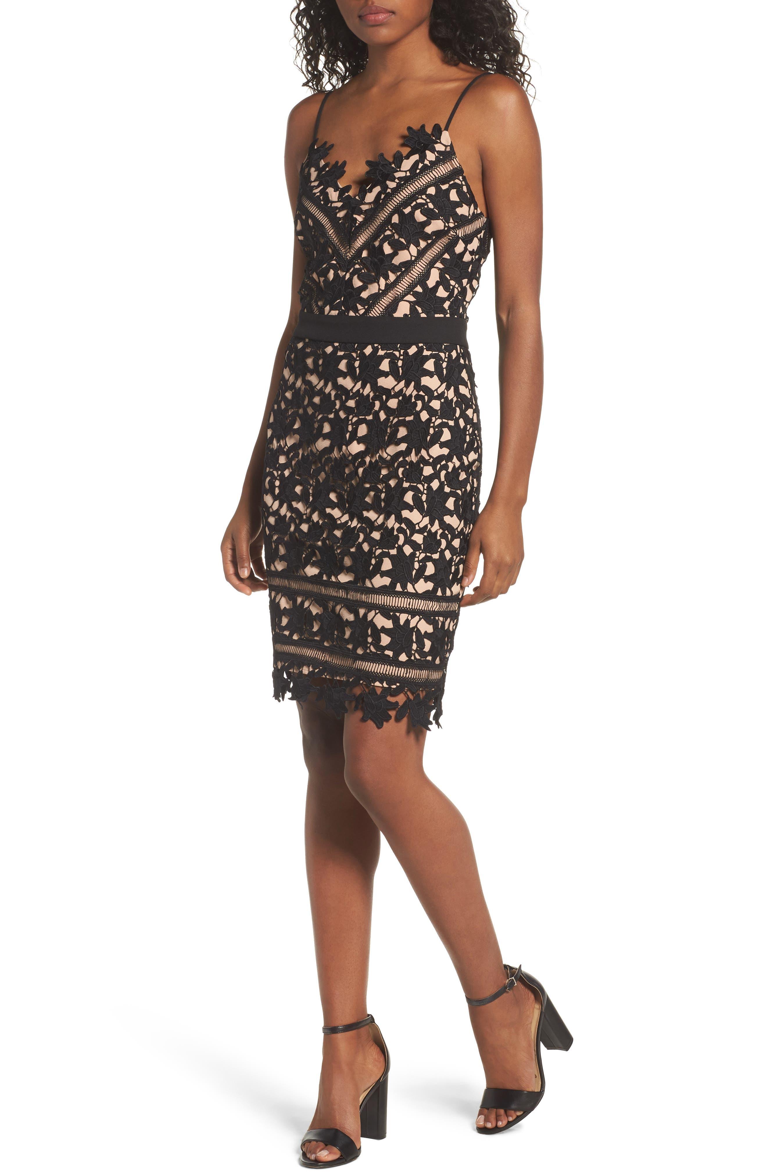 Whitney Lace Sheath Dress,                             Main thumbnail 1, color,                             001