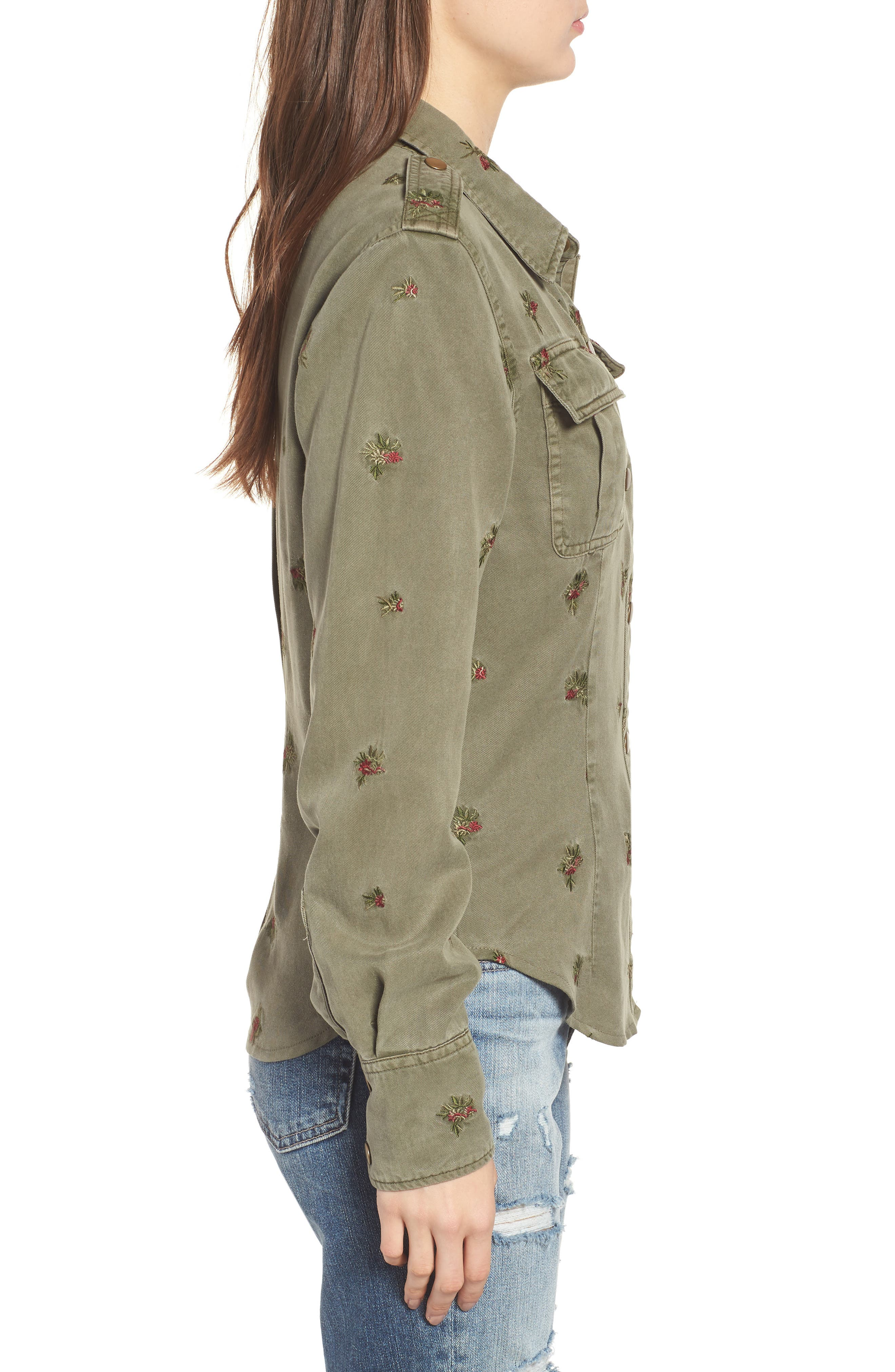 Back Pleated Shirt,                             Alternate thumbnail 3, color,                             FREEDOM GREEN