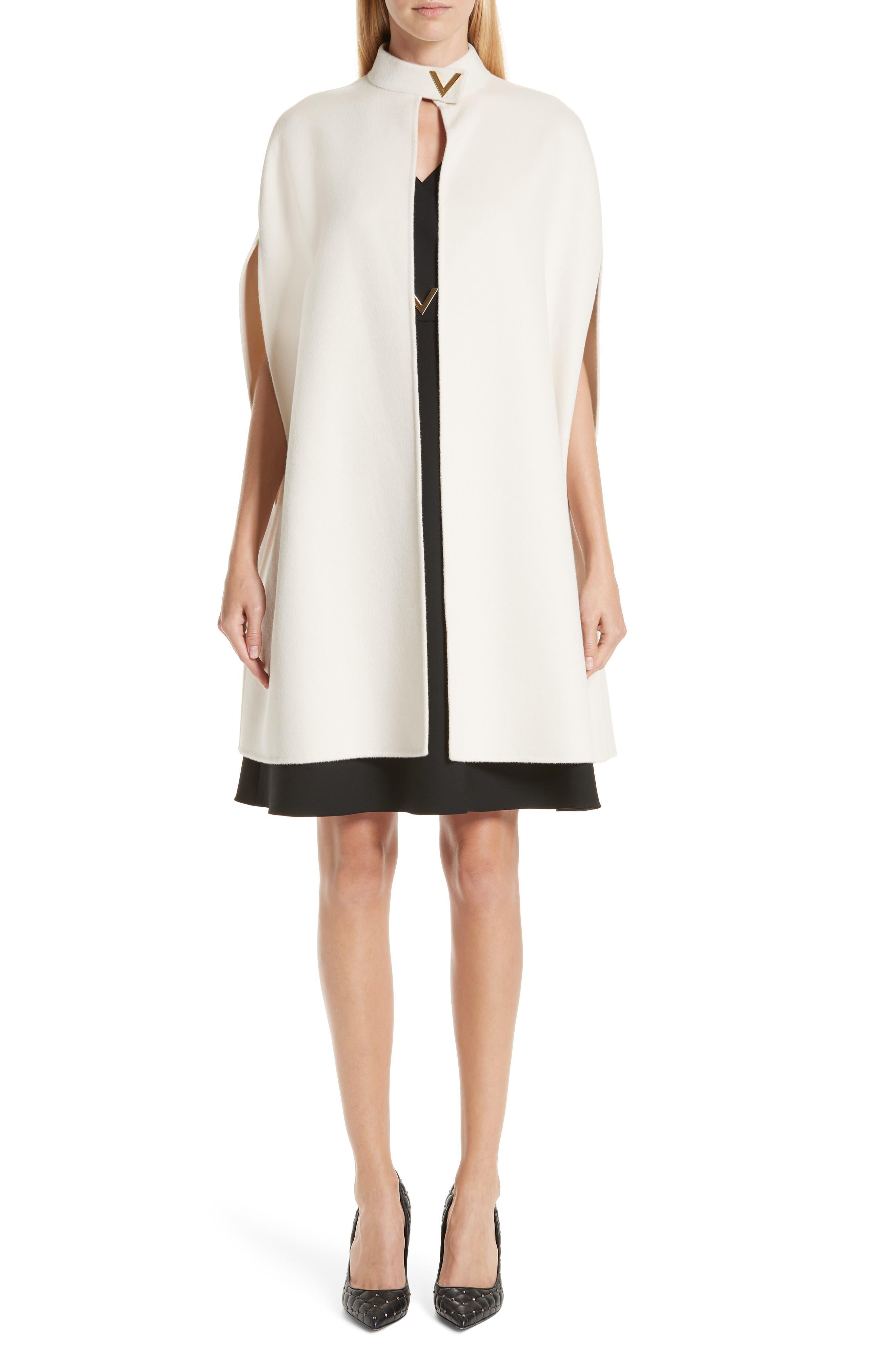 V-Hardware Double Crepe Dress,                             Alternate thumbnail 8, color,                             BLACK
