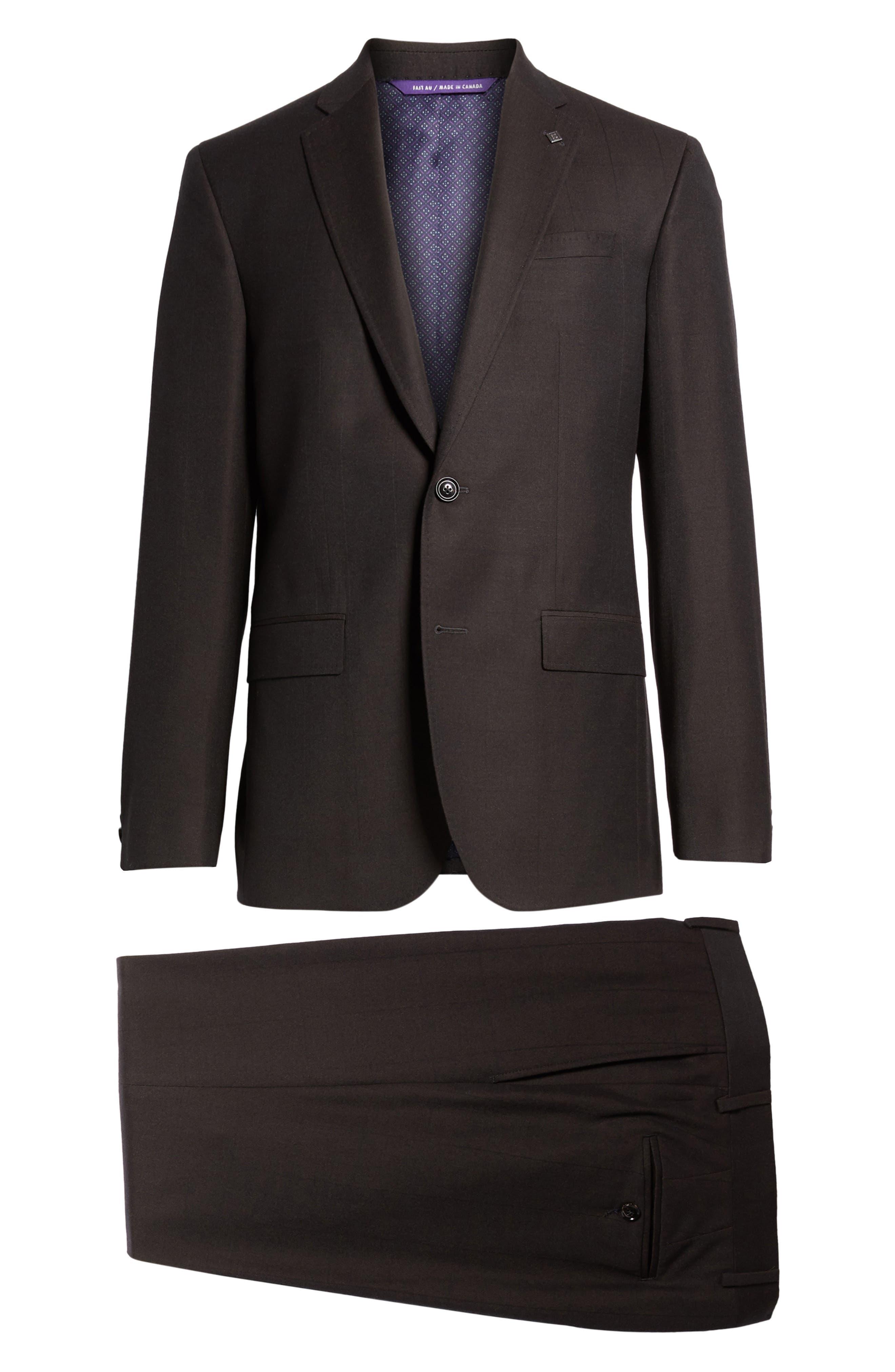 Jay Trim Fit Solid Wool Suit,                             Alternate thumbnail 8, color,                             200