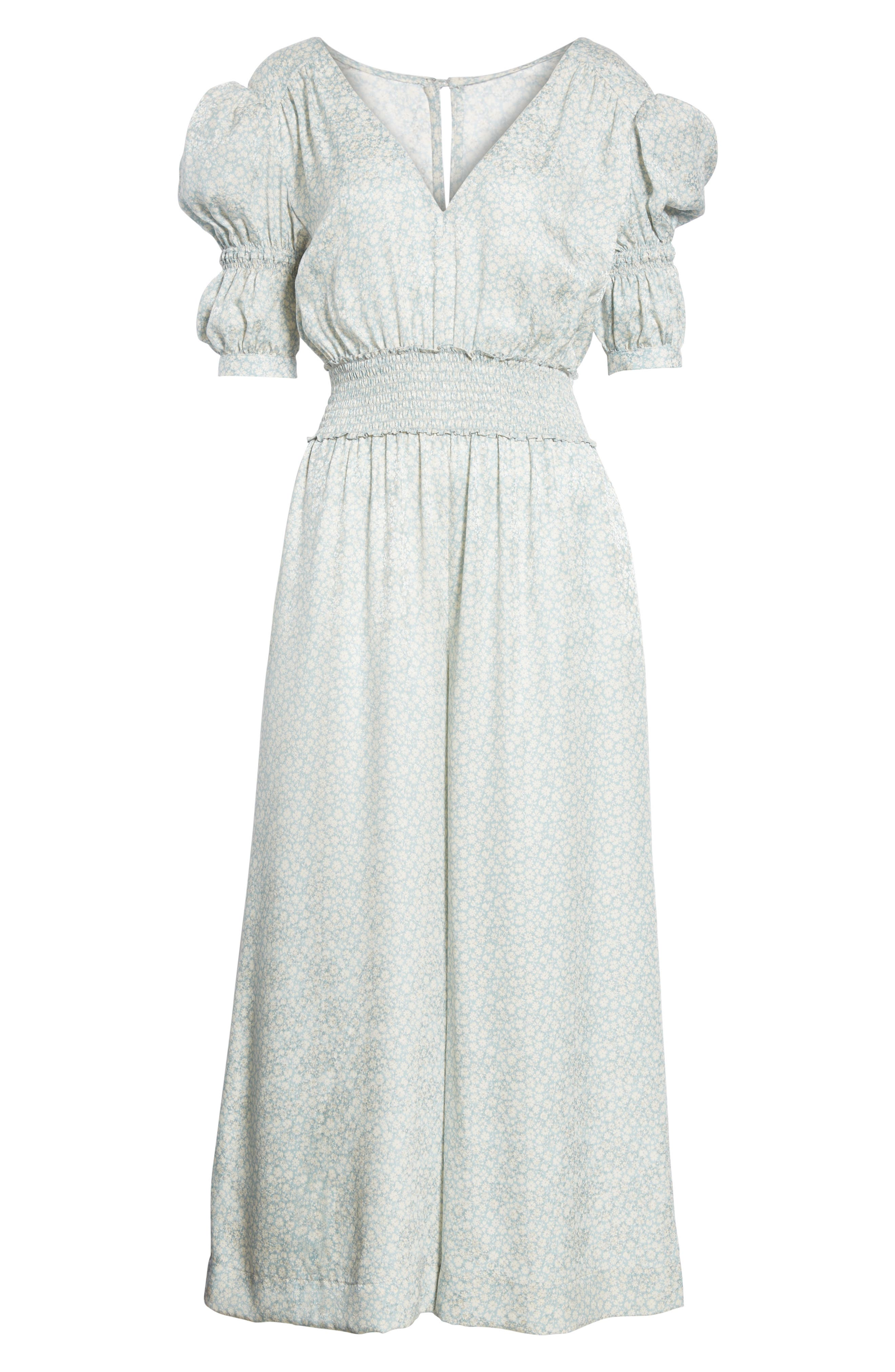 Lauren Puff Sleeve Floral Silk Jumpsuit,                             Alternate thumbnail 6, color,                             415