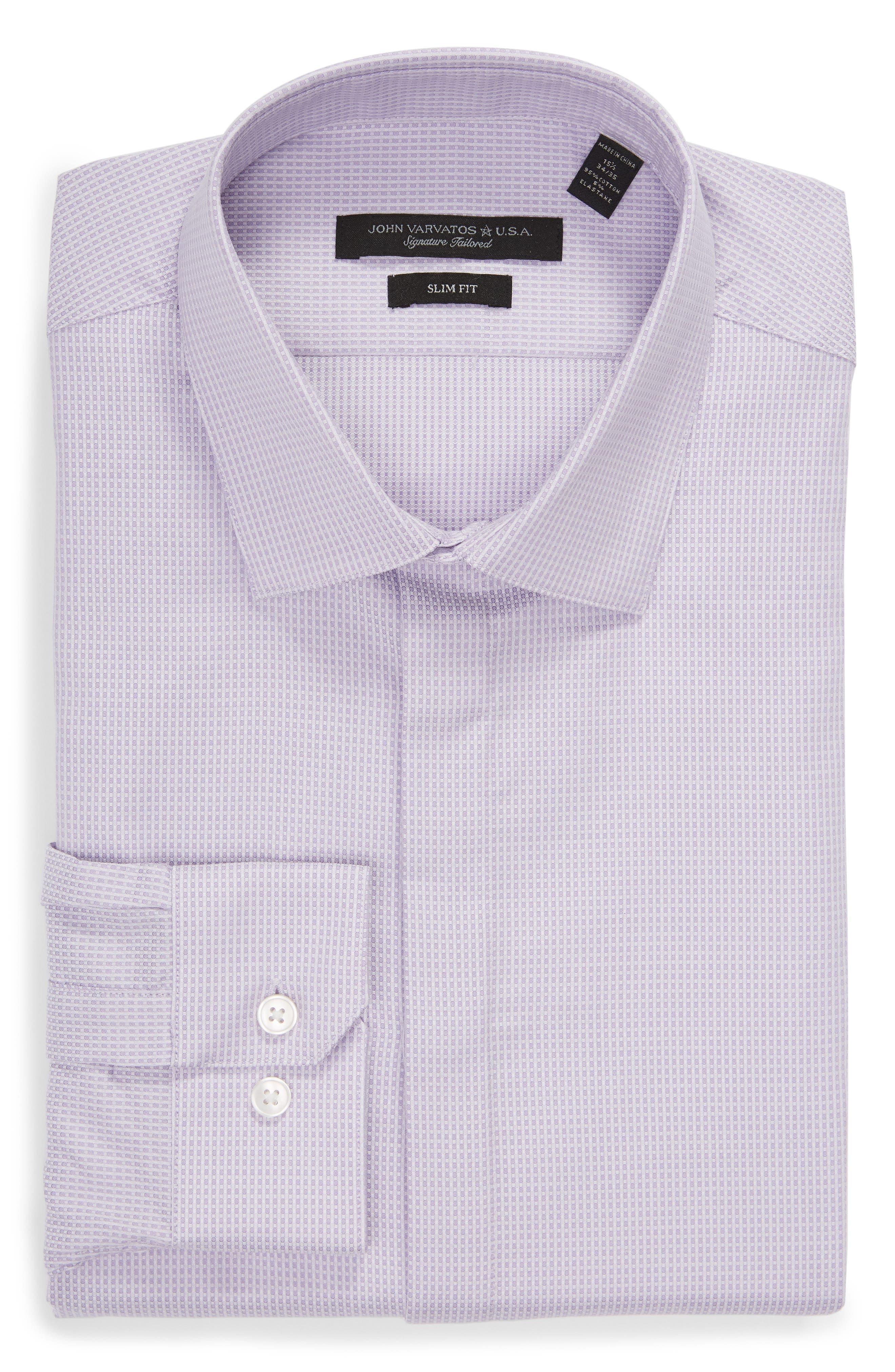 Slim Fit Stretch Check Dress Shirt,                             Alternate thumbnail 5, color,                             LAVENDER