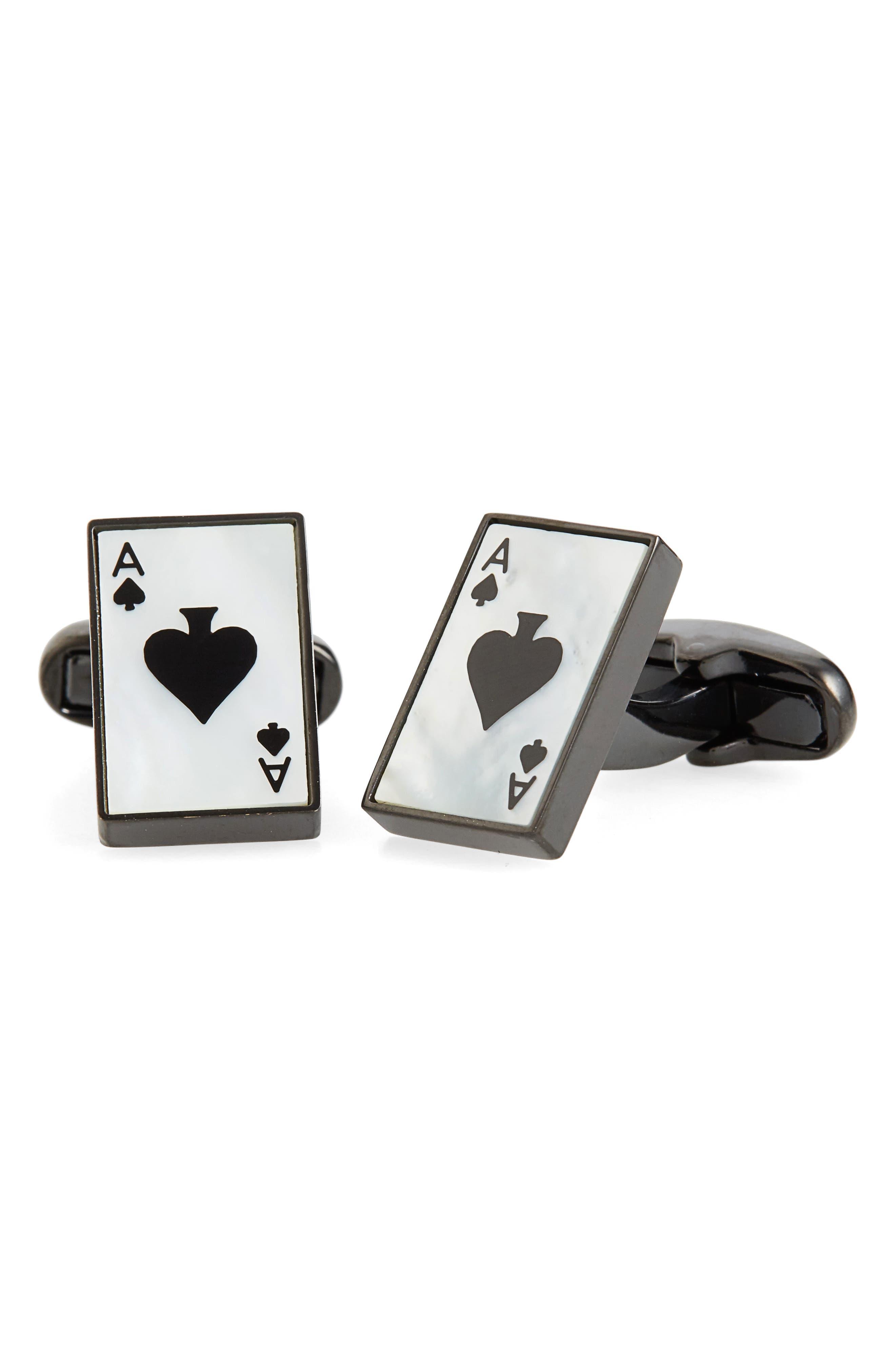 Ace of Spade Cuff Links,                         Main,                         color, 101