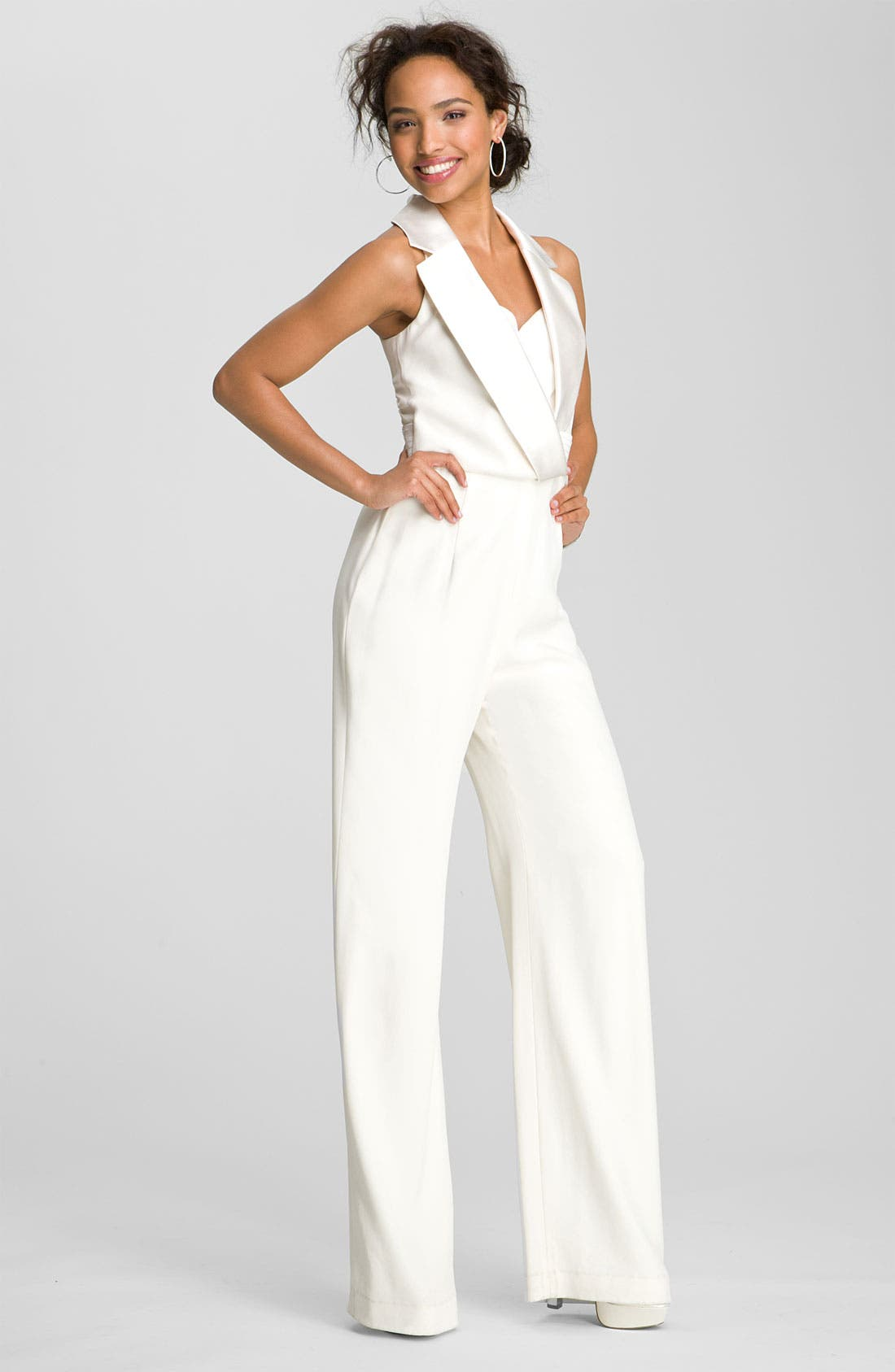 THEIA Tuxedo Style Silk Jumpsuit, Main, color, 900