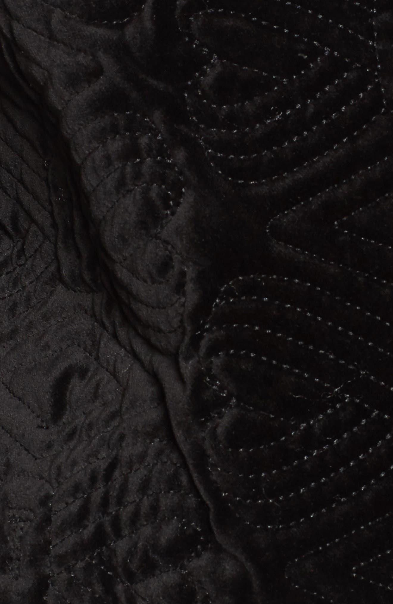 Quilted Velvet Bomber Jacket,                             Alternate thumbnail 6, color,                             001