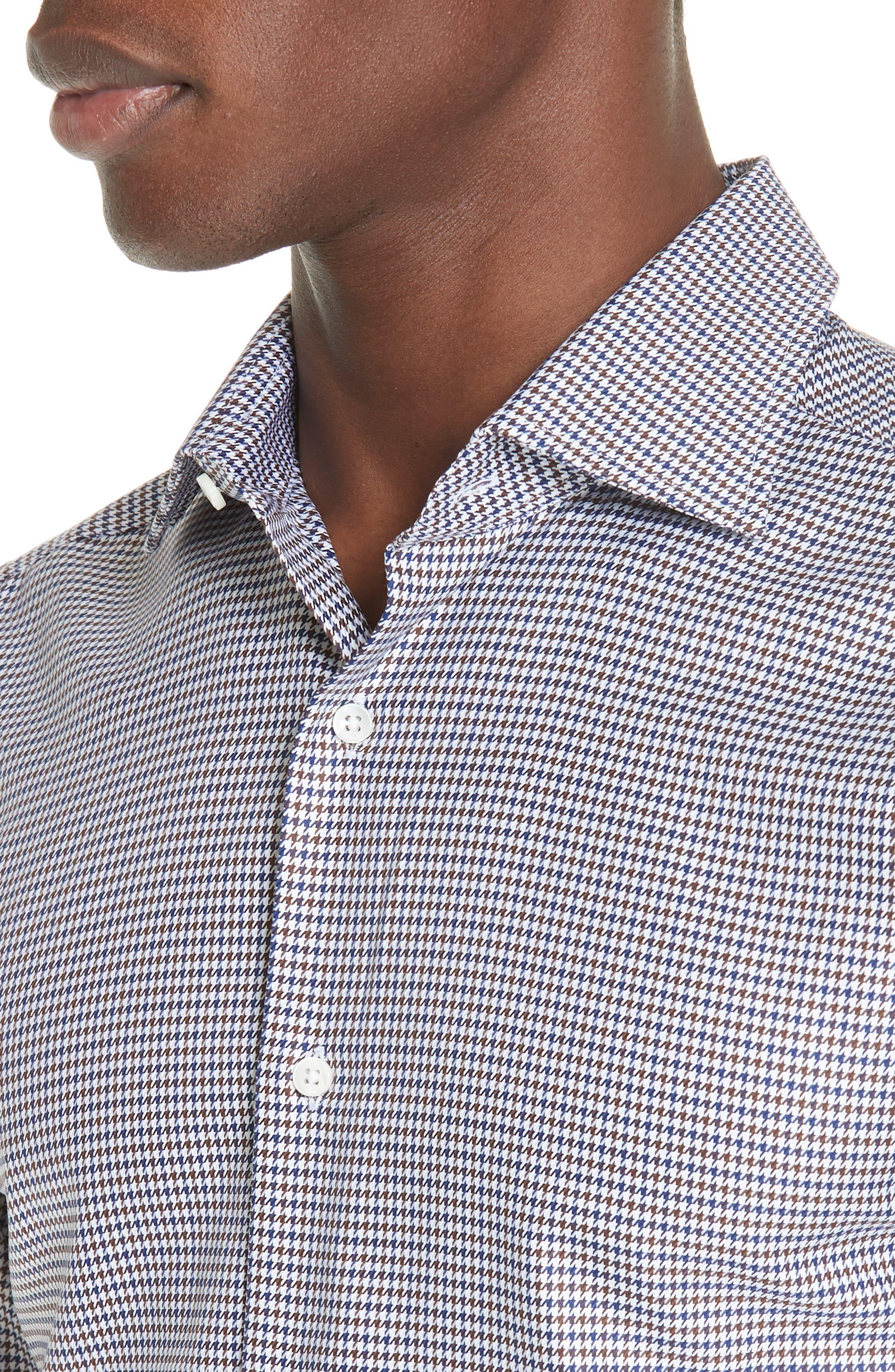 Regular Fit Houndstooth Dress Shirt,                             Alternate thumbnail 2, color,                             NAVY/ BROWN