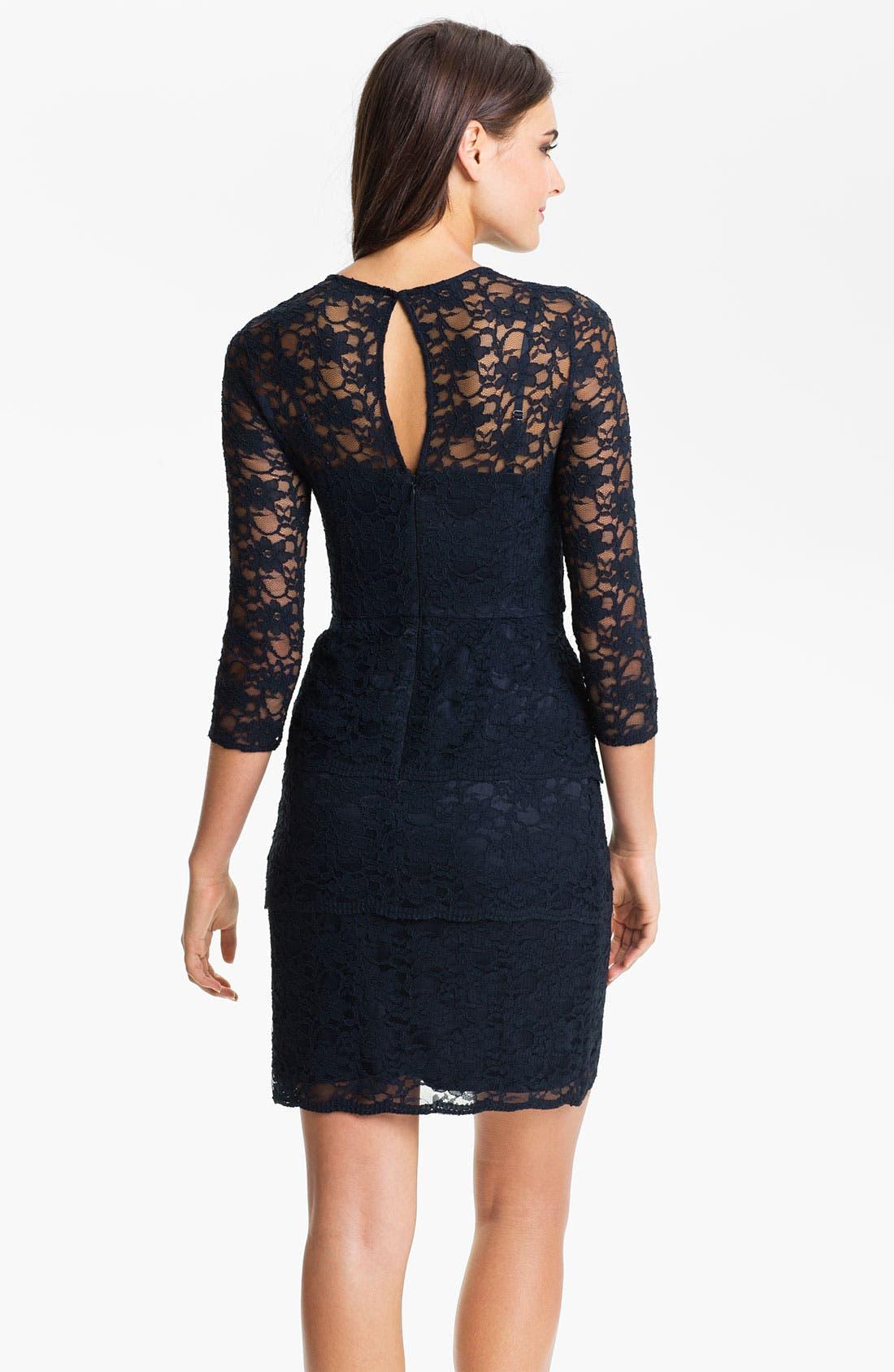 ELIZA J,                             Illusion Sleeve Lace Sheath Dress,                             Alternate thumbnail 3, color,                             410