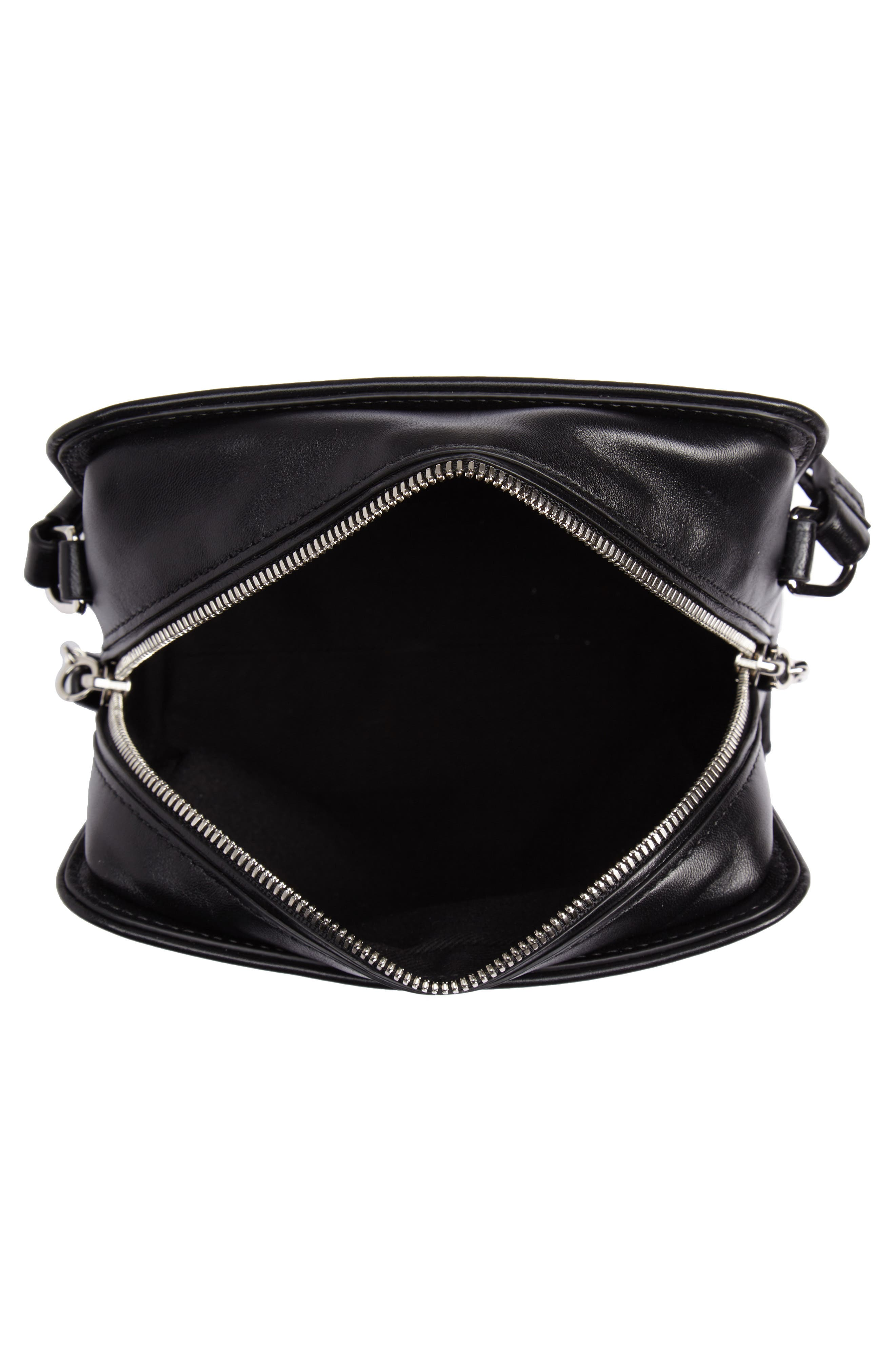 Hudson Mini Square Leather Crossbody Bag,                             Alternate thumbnail 4, color,                             001