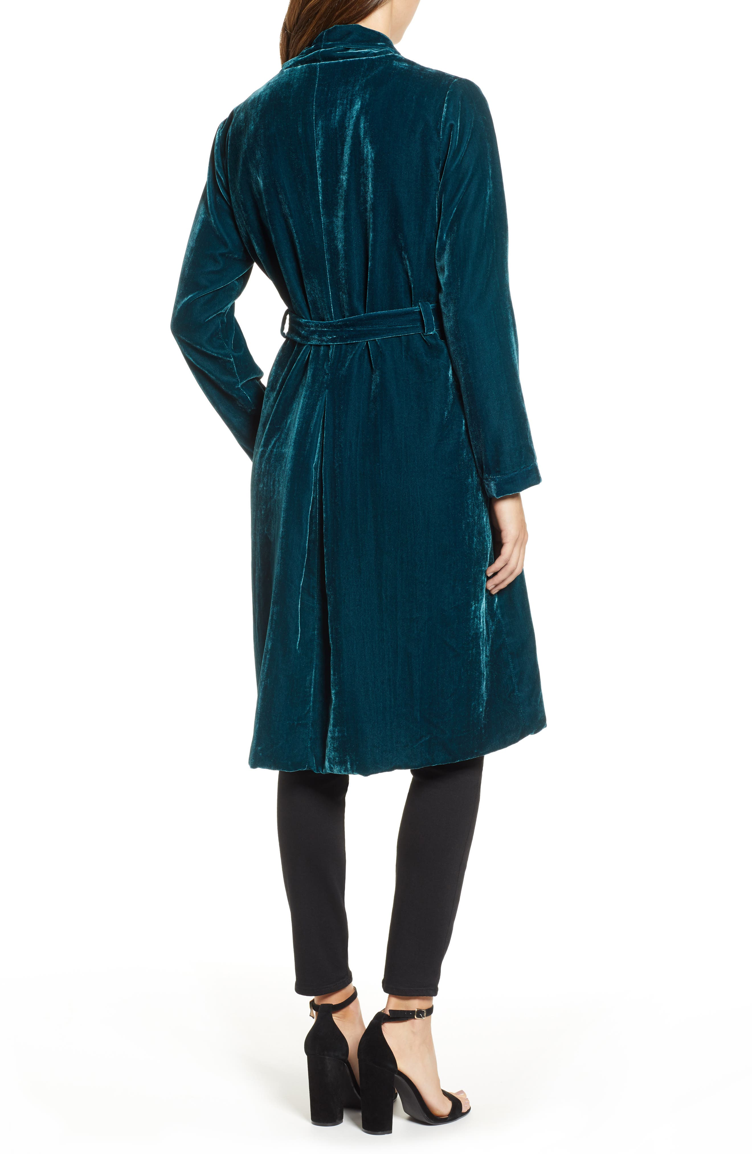 CUPCAKES AND CASHMERE,                             Belted Velvet Duster,                             Alternate thumbnail 2, color,                             FOREST GREEN