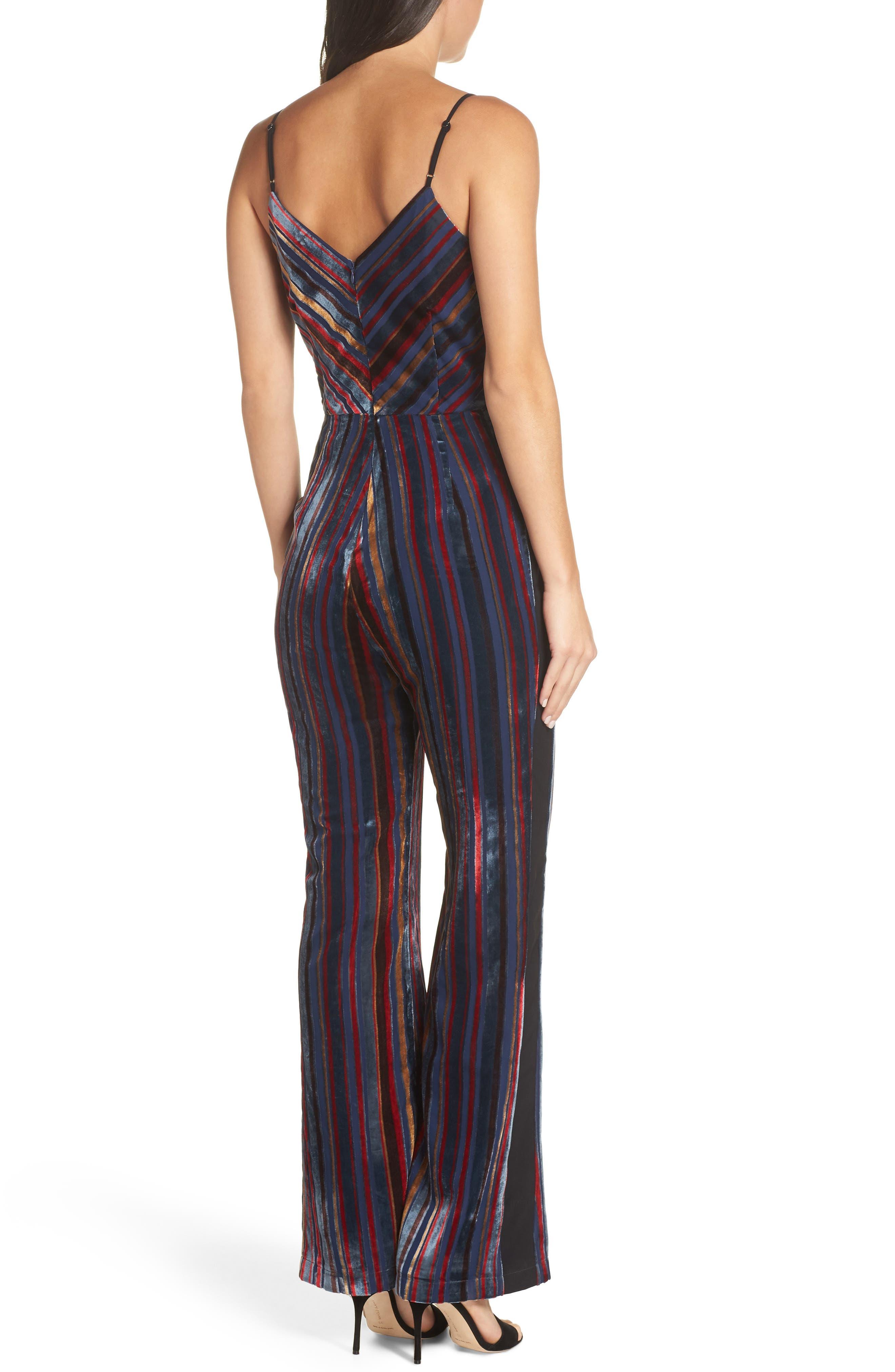 Stripe Velvet Jumpsuit,                             Alternate thumbnail 2, color,                             NAVY MULTI