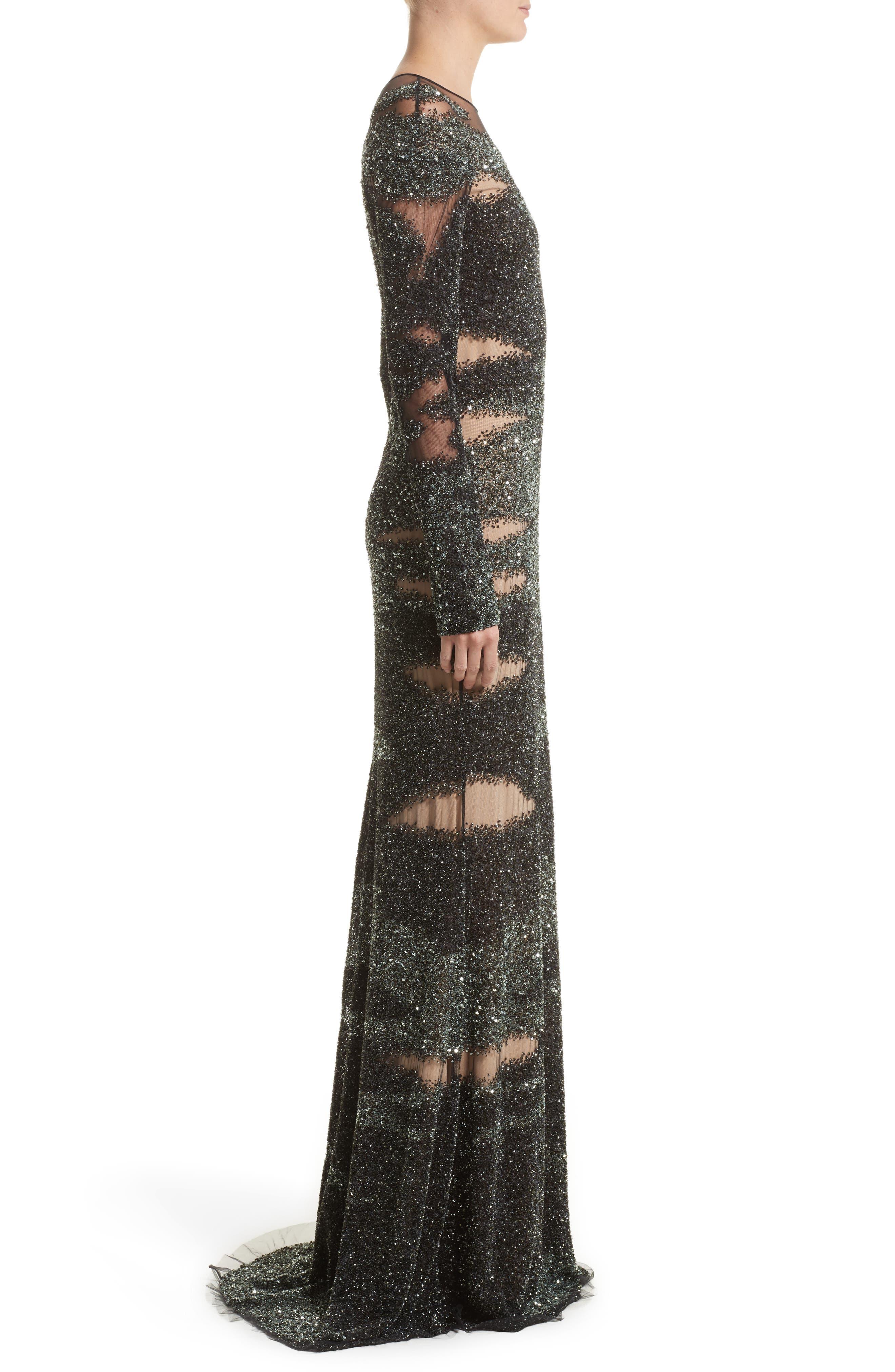 Brushstroke Sequin Long Sleeve Gown,                             Alternate thumbnail 3, color,                             349
