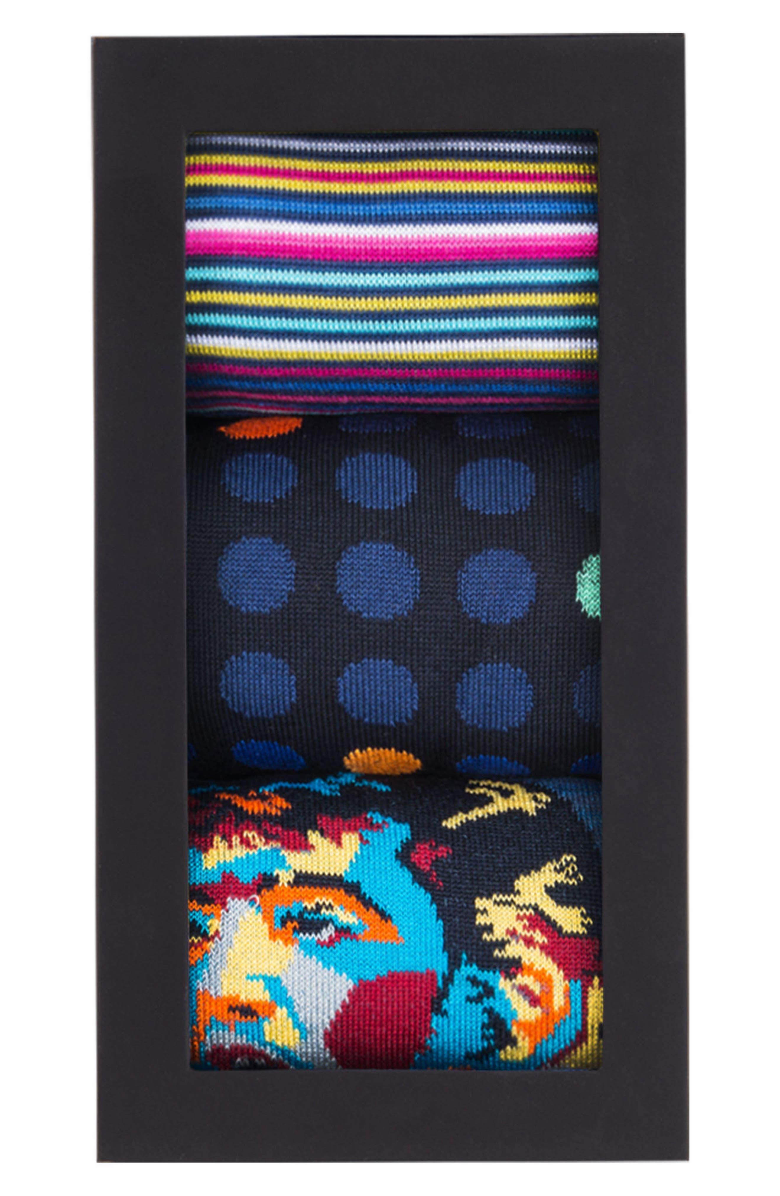 Assorted 3-Pack Mercerized Cotton Blend Sock Gift Set,                             Alternate thumbnail 2, color,