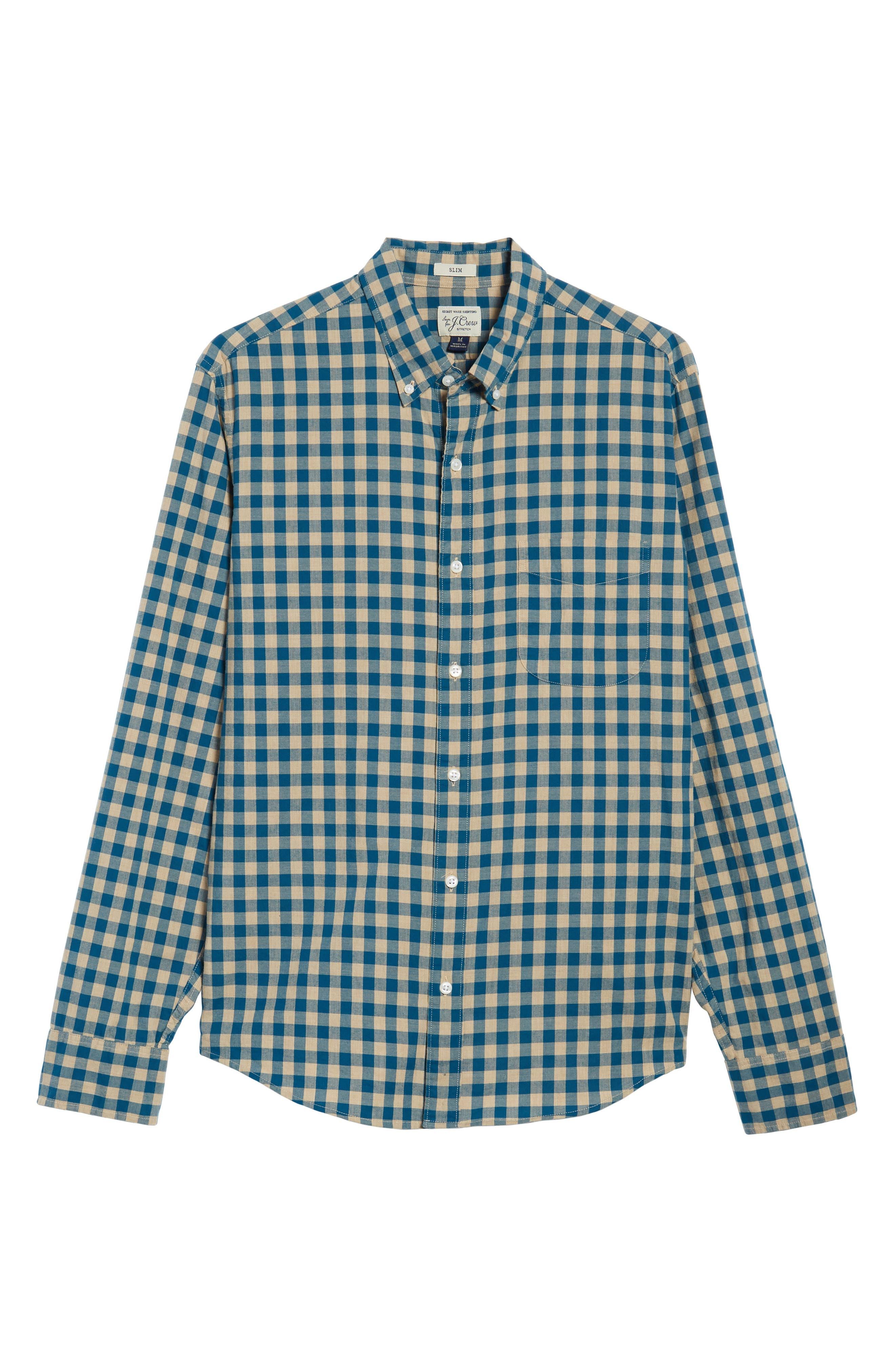 Slim Fit Stretch Secret Wash Heather Gingham Poplin Shirt,                             Alternate thumbnail 10, color,