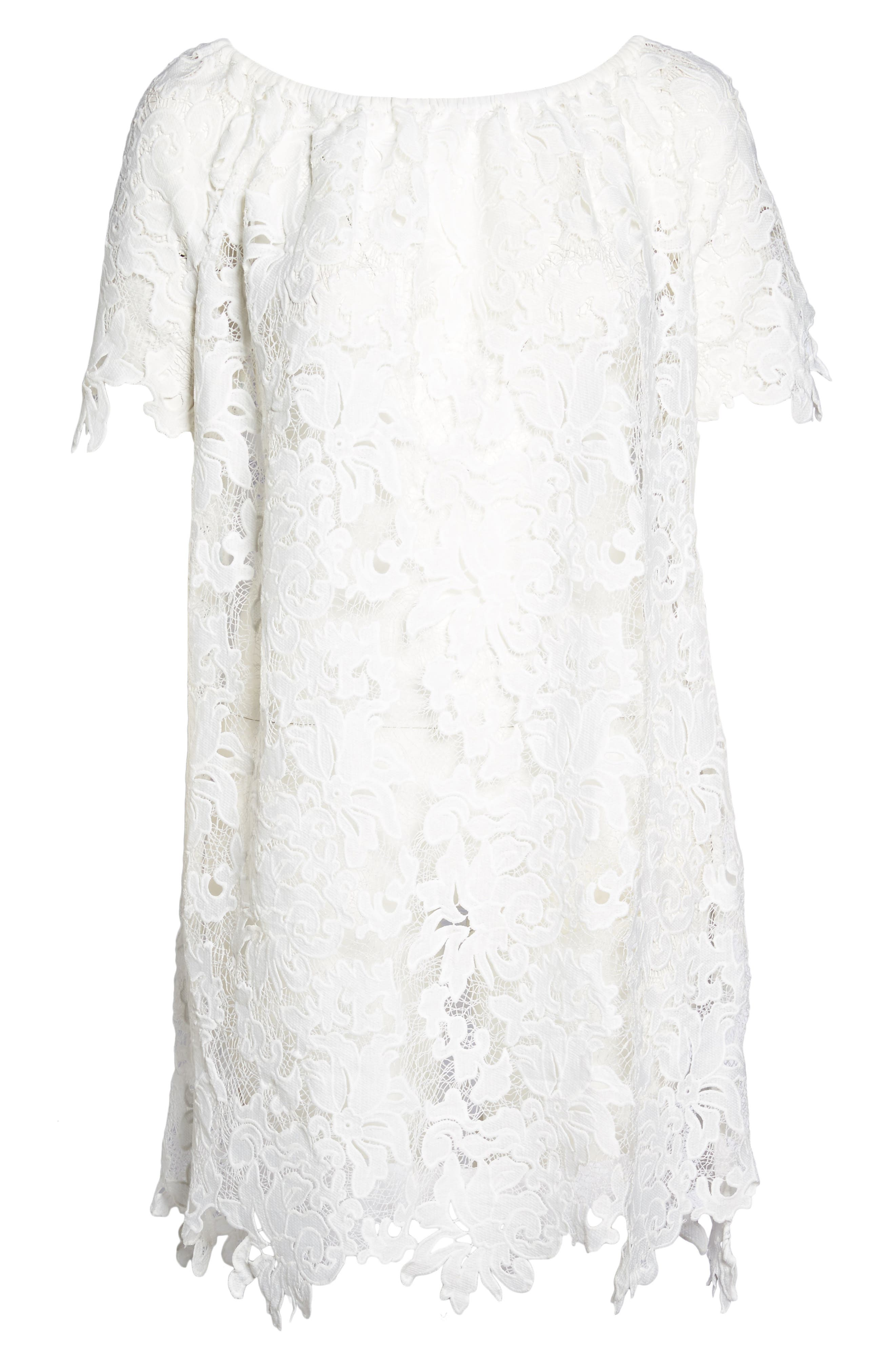 Ode Lace Cover-Up Dress,                             Alternate thumbnail 6, color,                             100