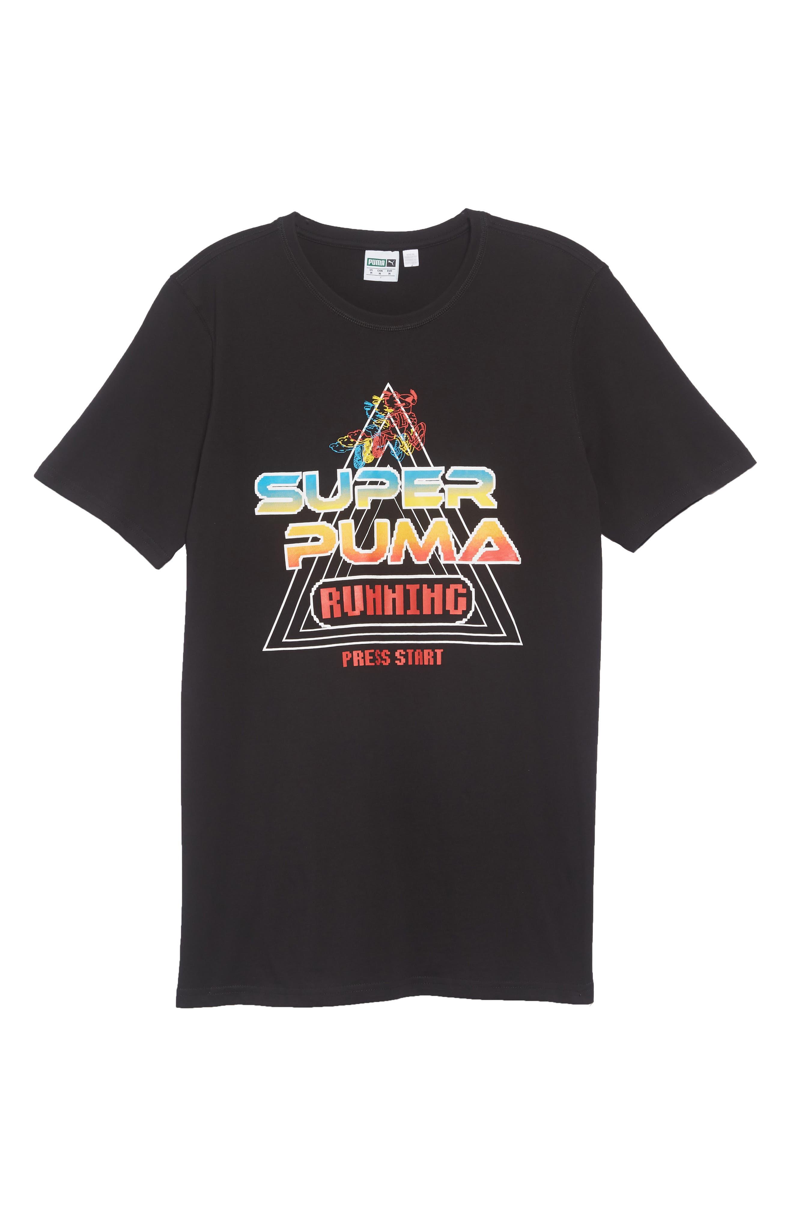 Super PUMA Regular Fit T-Shirt,                             Alternate thumbnail 6, color,                             COTTON BLACK