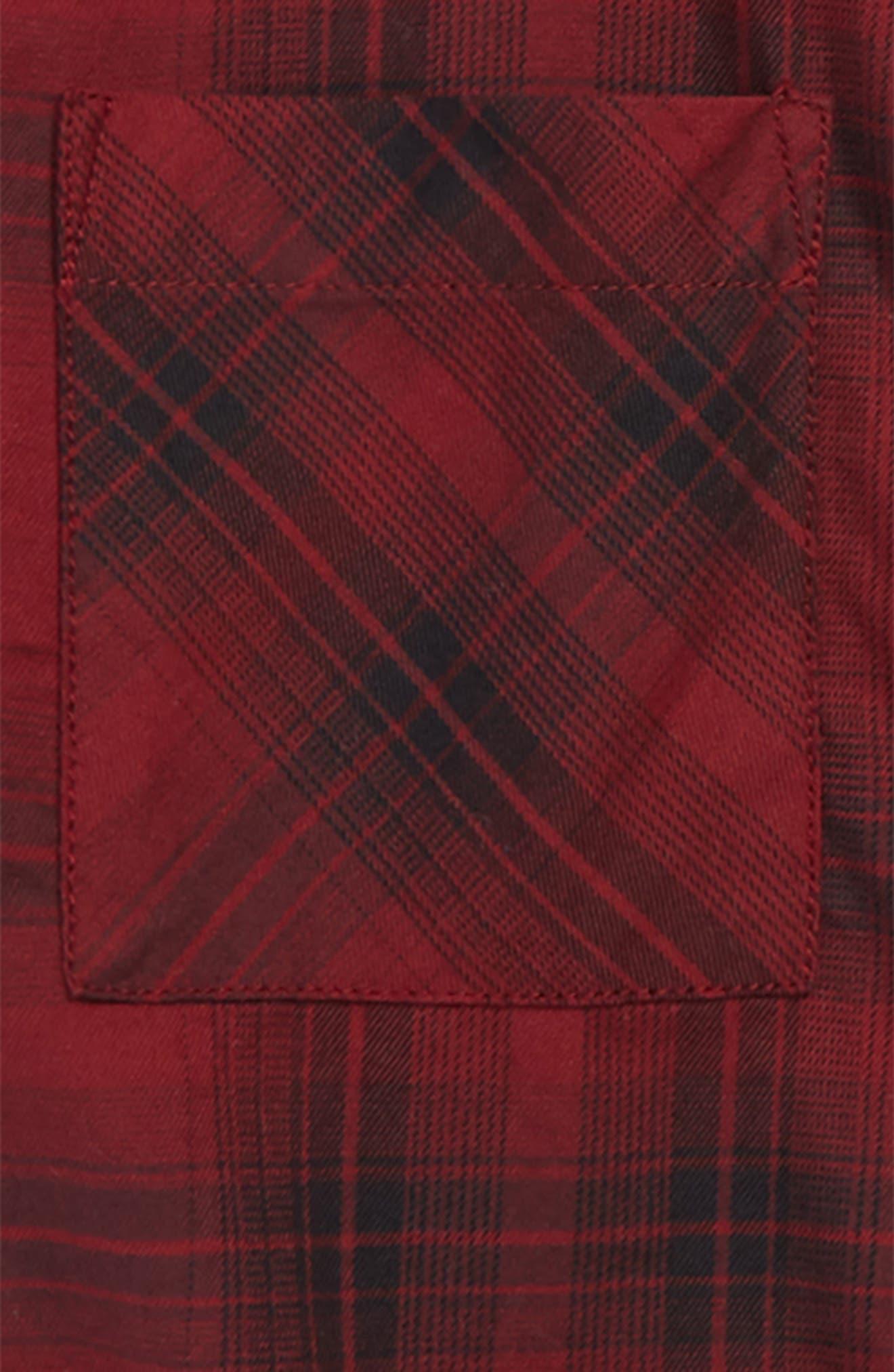 Distressed Plaid Flannel Shirt,                             Alternate thumbnail 2, color,                             RED GRAPE- BLACK PLAID