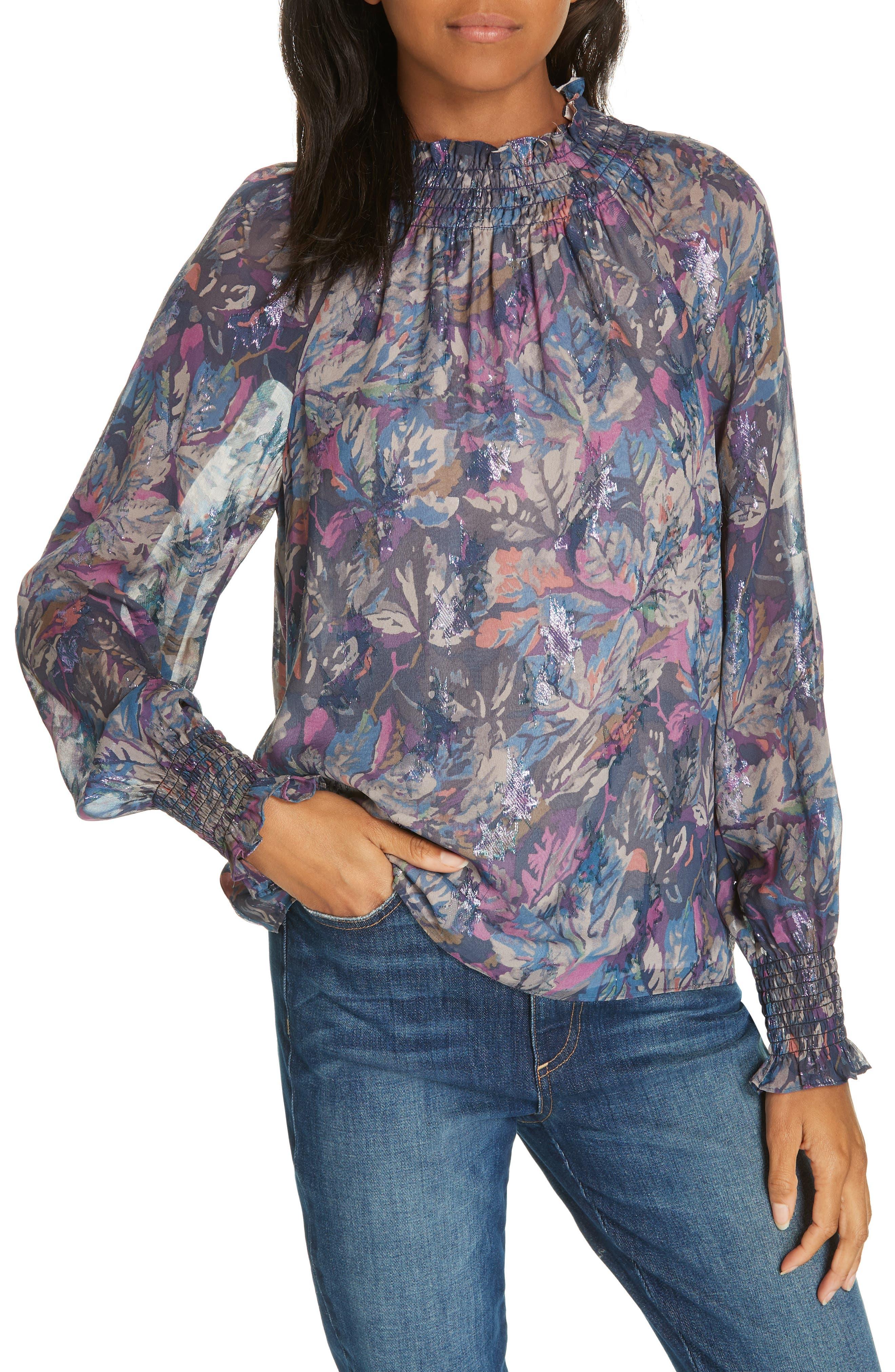Givery Fleur Metallic Silk Top,                             Main thumbnail 1, color,                             AMETHYST COMBO