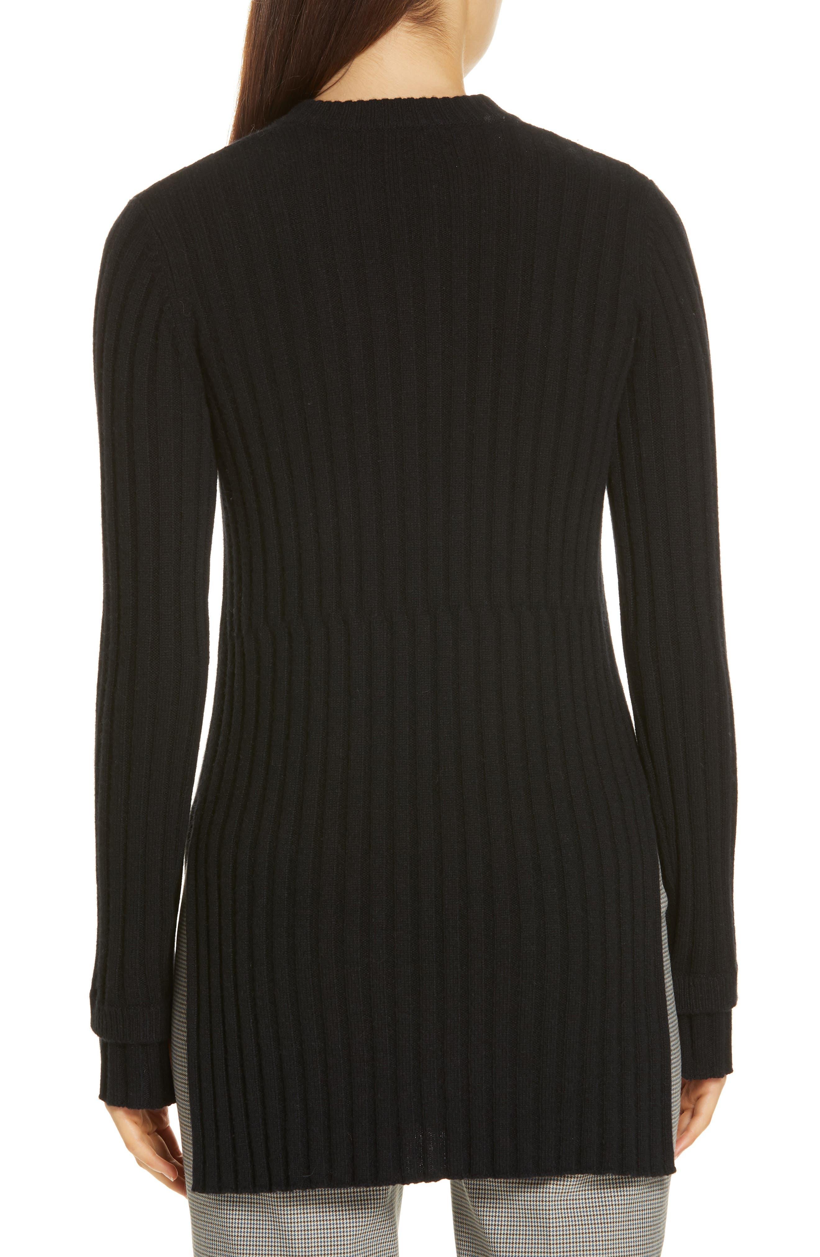 Rib Knit Cashmere Tunic,                             Alternate thumbnail 2, color,                             BLACK