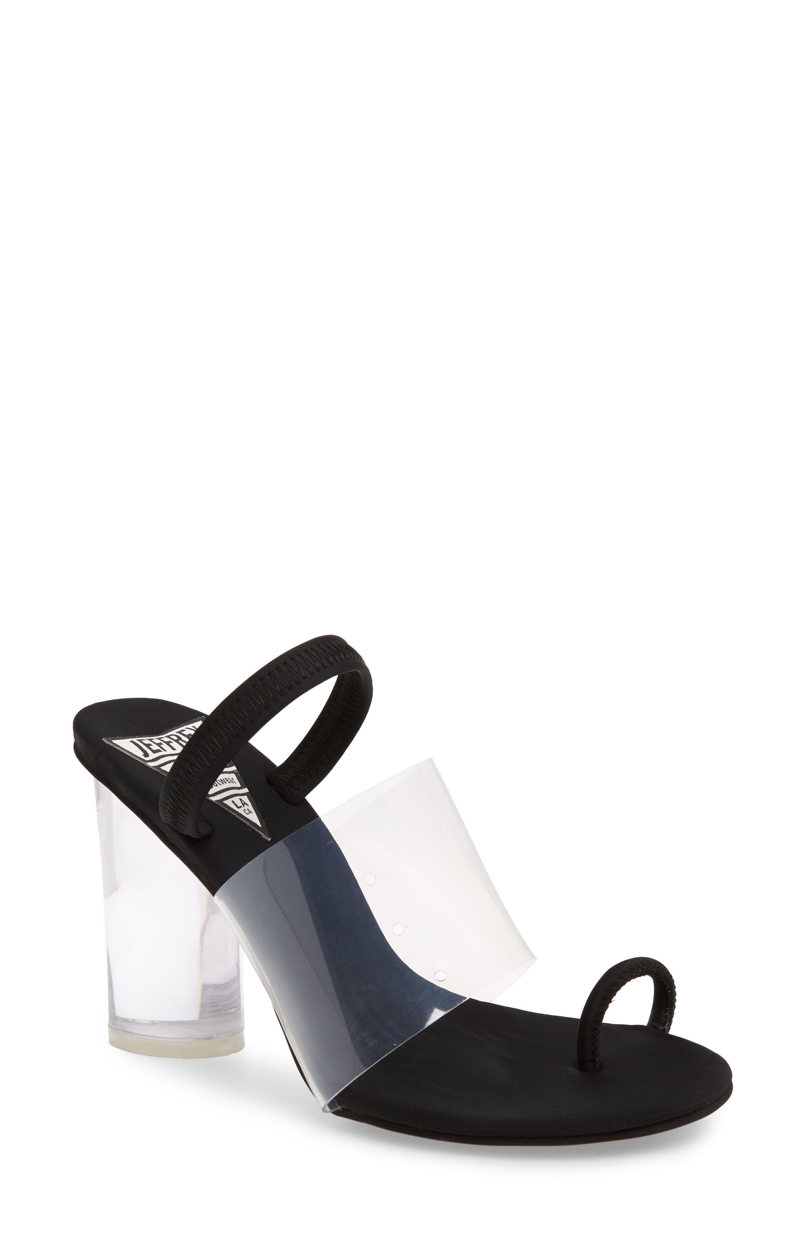 Mania Clear Toe Loop Sandal,                             Main thumbnail 1, color,                             BLACK FABRIC