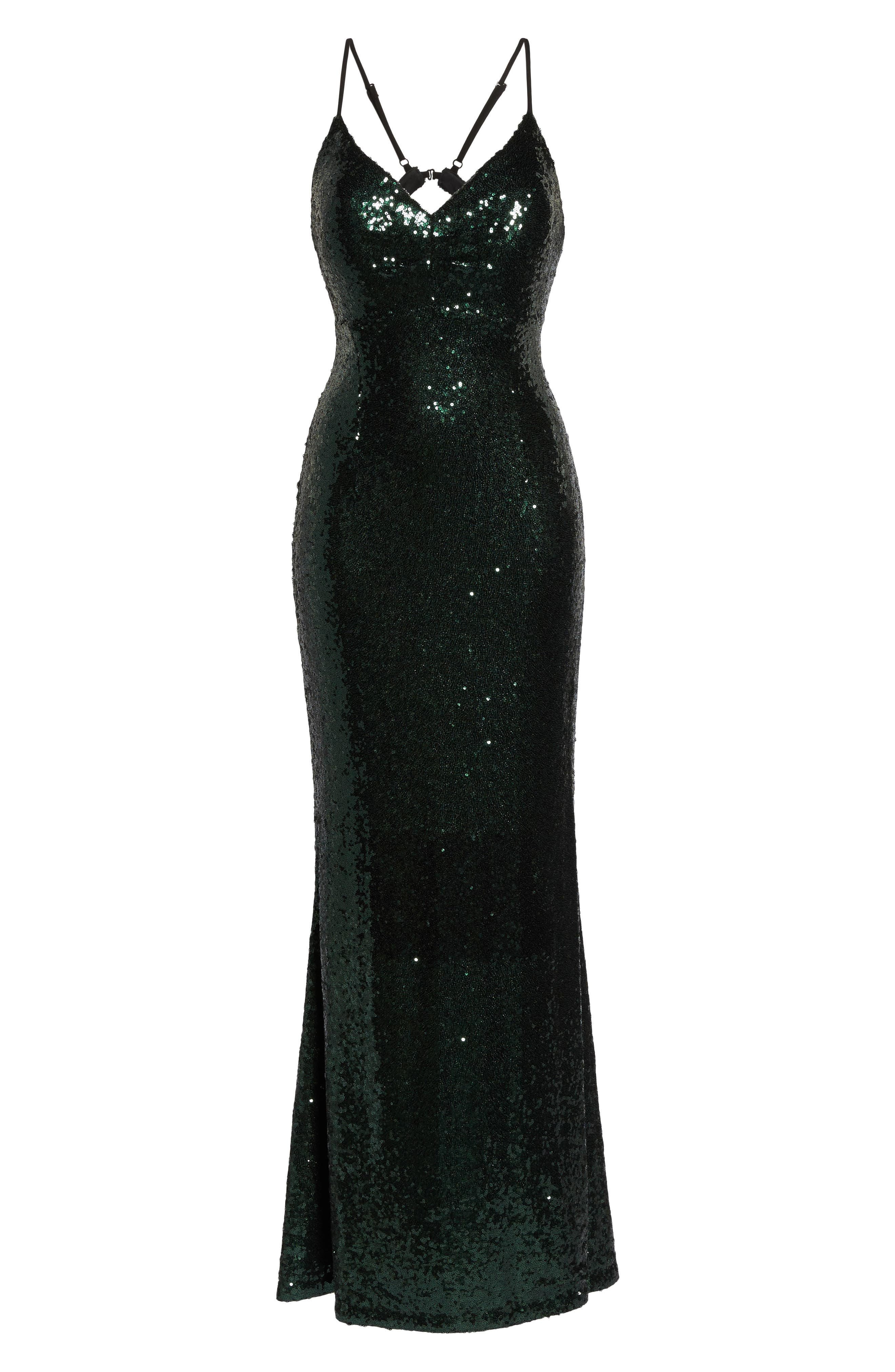 Keyhole Back Sequin Gown,                             Alternate thumbnail 6, color,                             DARK GREEN