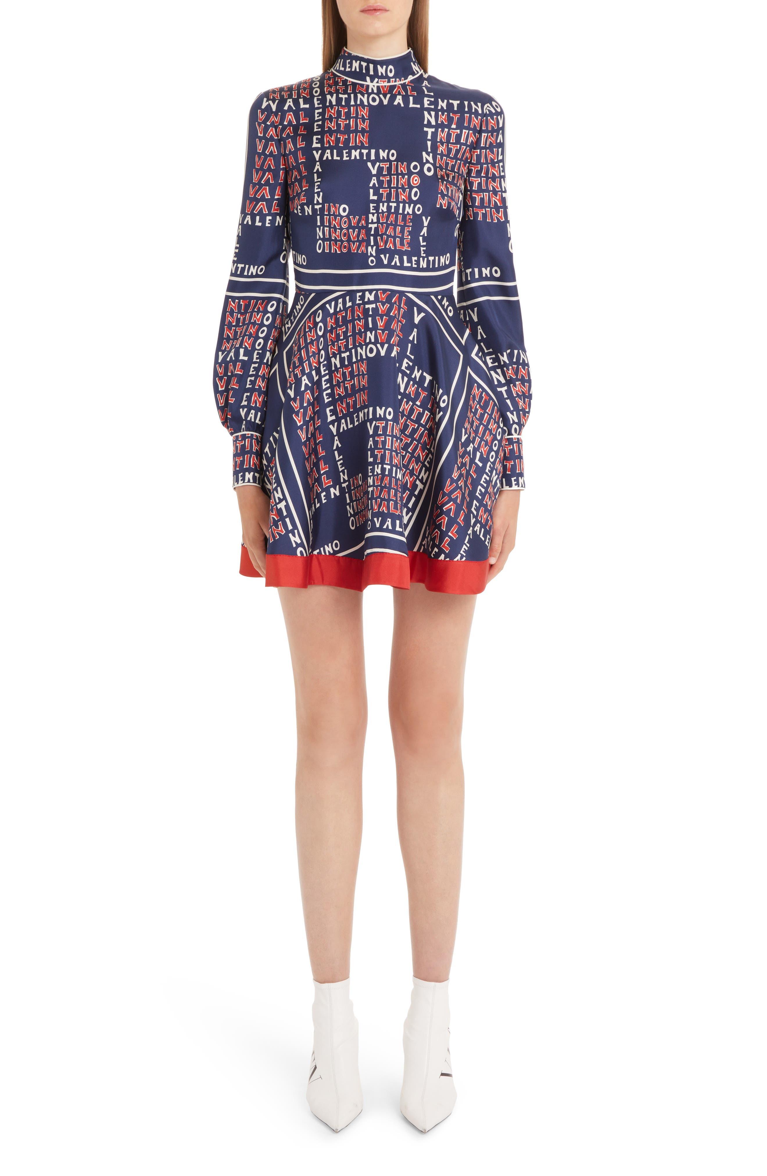 Mock-Neck Long-Sleeve Puzzle-Print Mini Dress in Brick/ Pure Blue