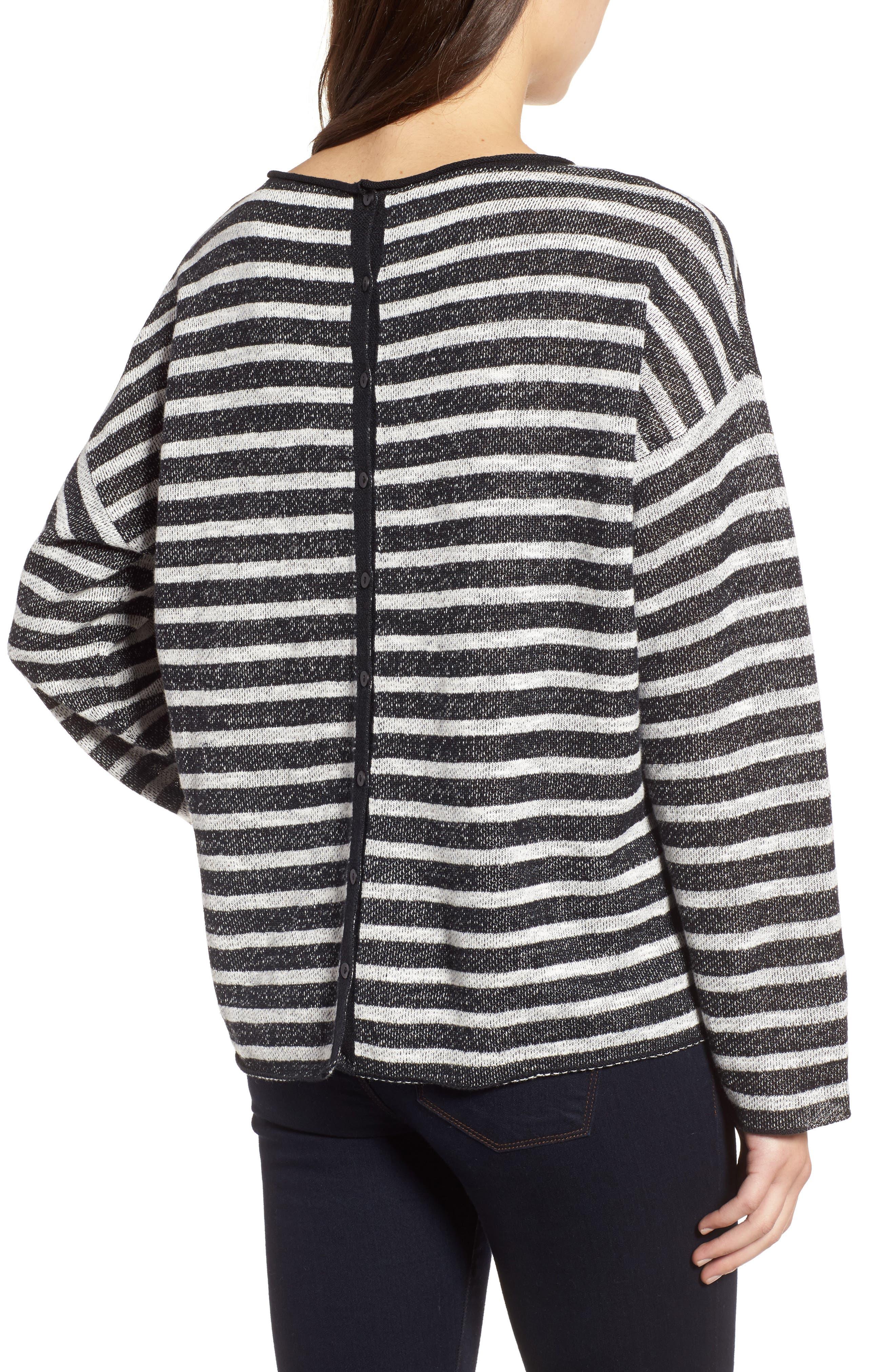 Stripe Organic Linen & Cotton Sweater,                             Alternate thumbnail 2, color,                             112