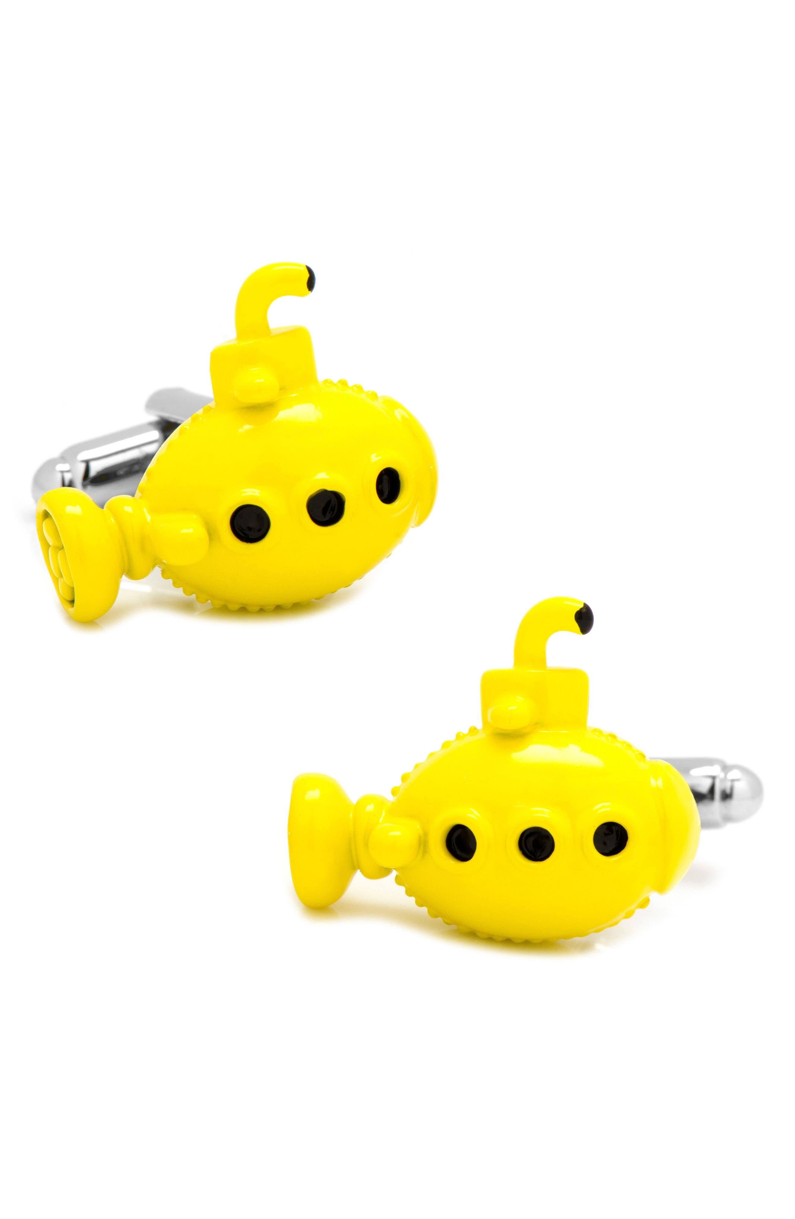 Yellow Submarine Cuff Links,                         Main,                         color, YELLOW