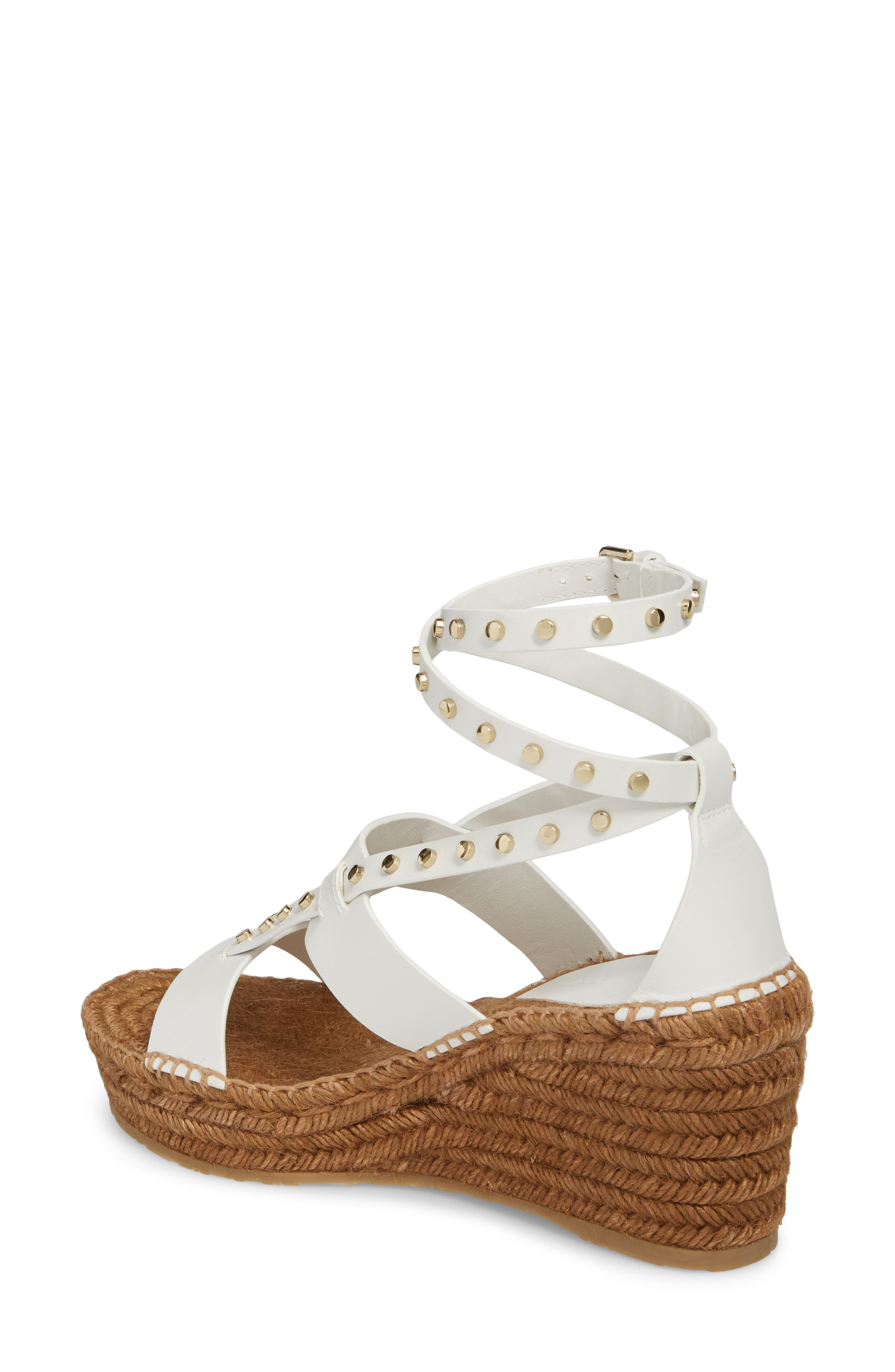 Danica Studded Wedge Espadrille,                             Alternate thumbnail 2, color,                             WHITE