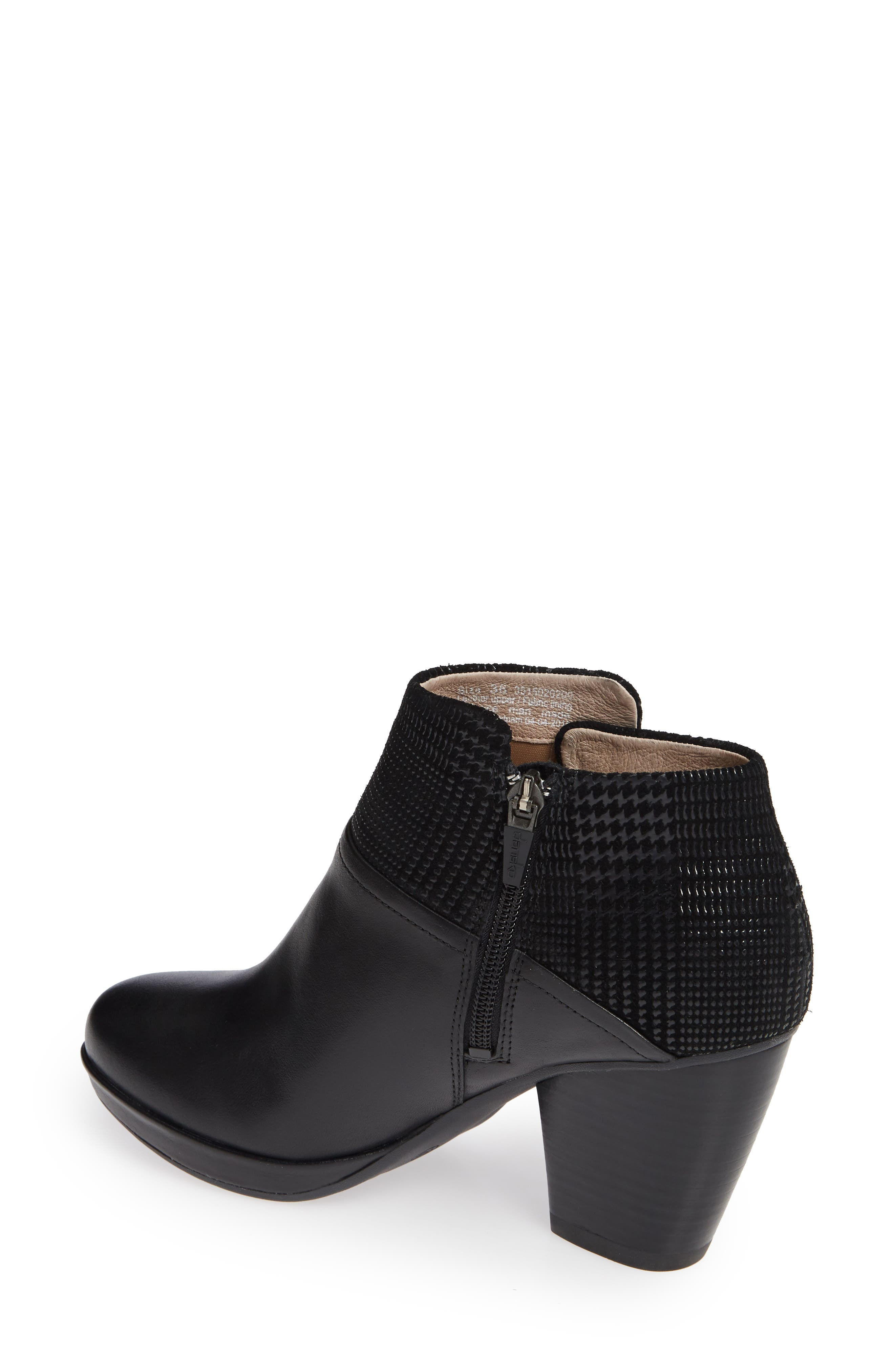 Miley Burnished Leather Bootie,                             Alternate thumbnail 2, color,                             BLACK BURNISHED LEATHER