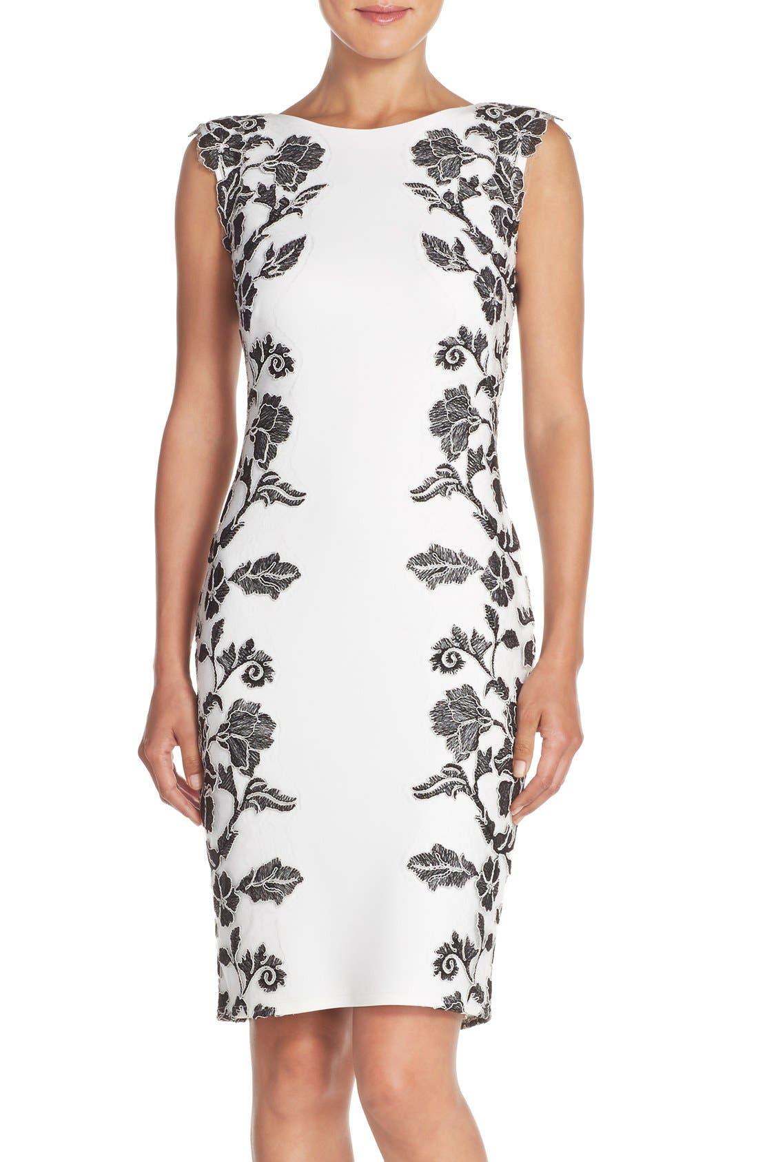 Embroidered Neoprene Sheath Dress,                             Main thumbnail 4, color,