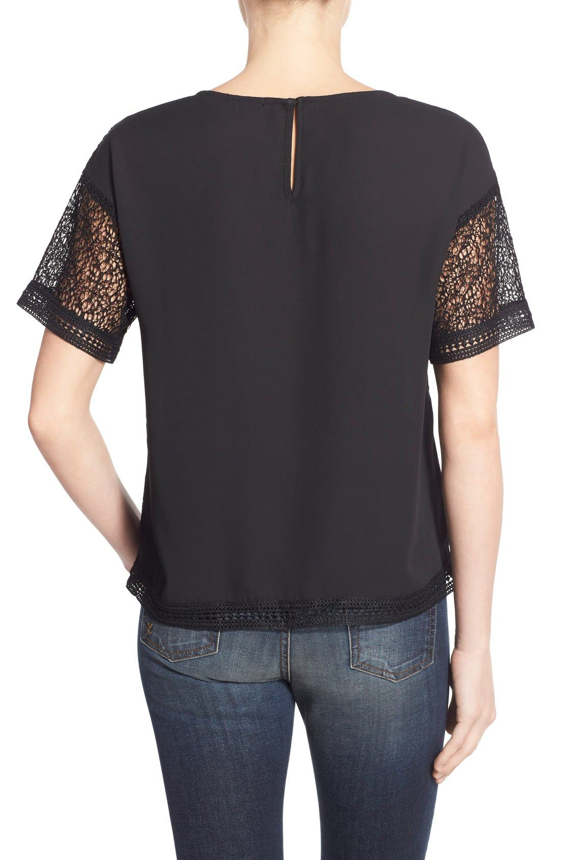 Lace Inset Short Sleeve Top,                             Alternate thumbnail 3, color,                             001