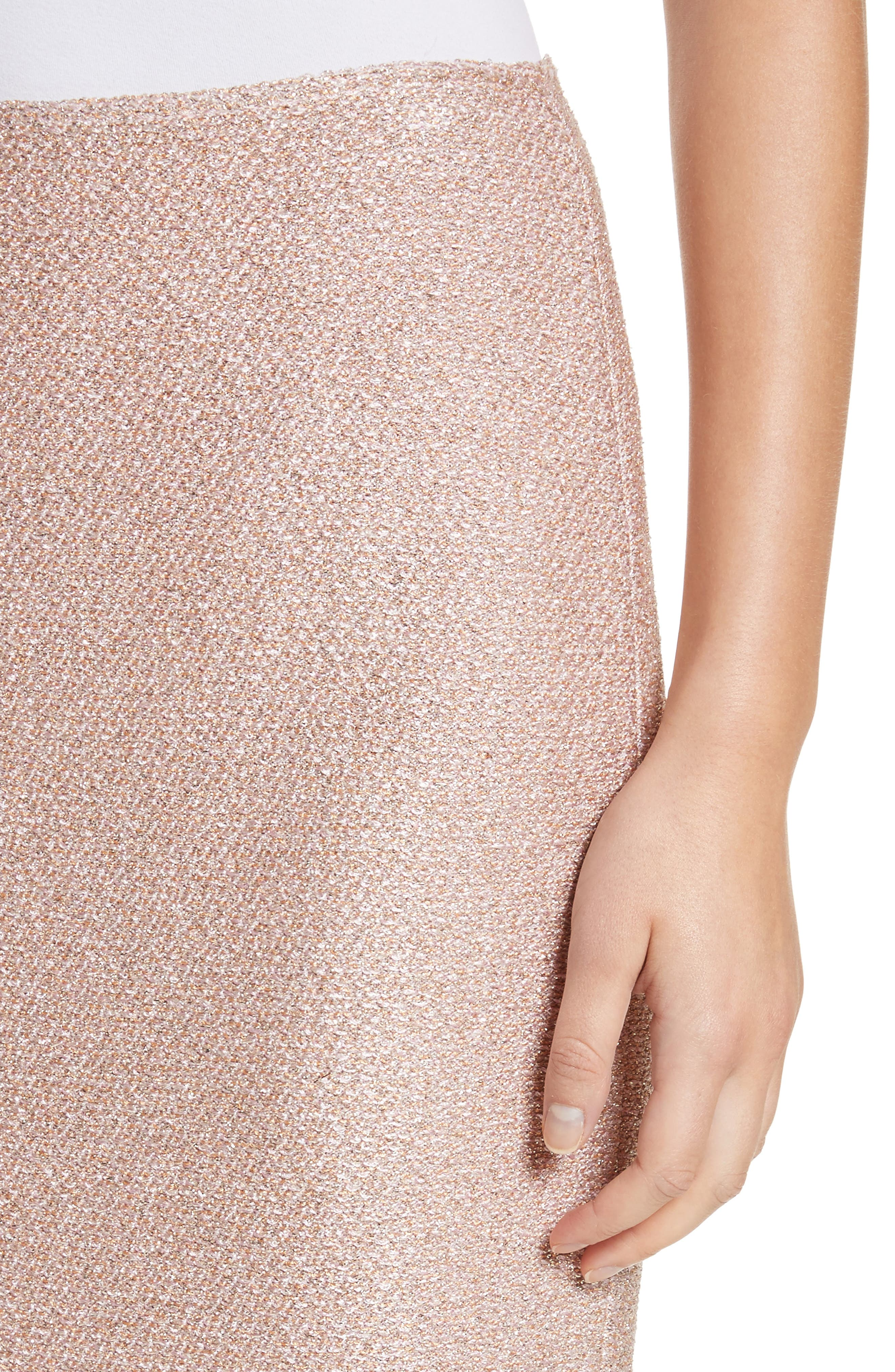 ST. JOHN COLLECTION,                             Frosted Metallic Knit Pencil Skirt,                             Alternate thumbnail 4, color,                             660