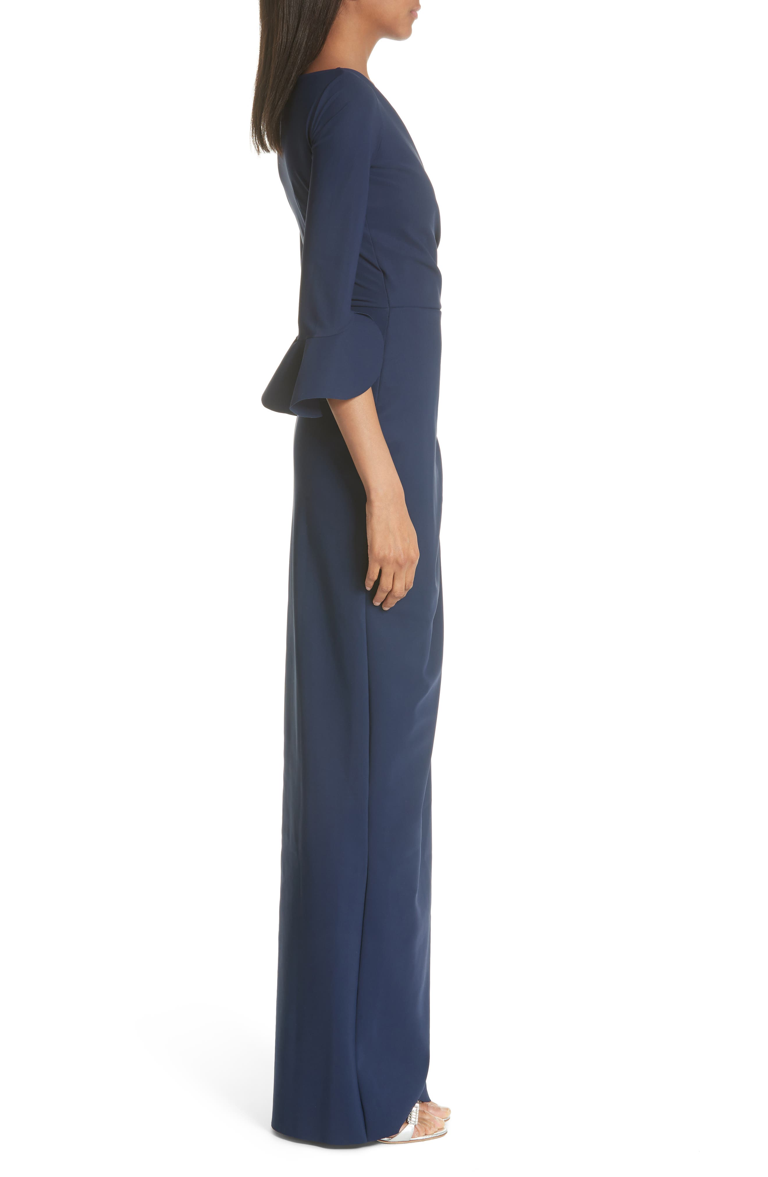 Ruched Bell Sleeve Evening Dress,                             Alternate thumbnail 3, color,                             BLUE NOTTE