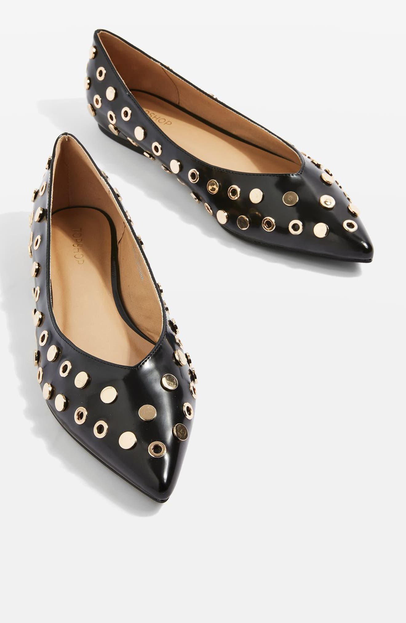 Alibi Multi Studded Flat,                             Alternate thumbnail 3, color,                             001