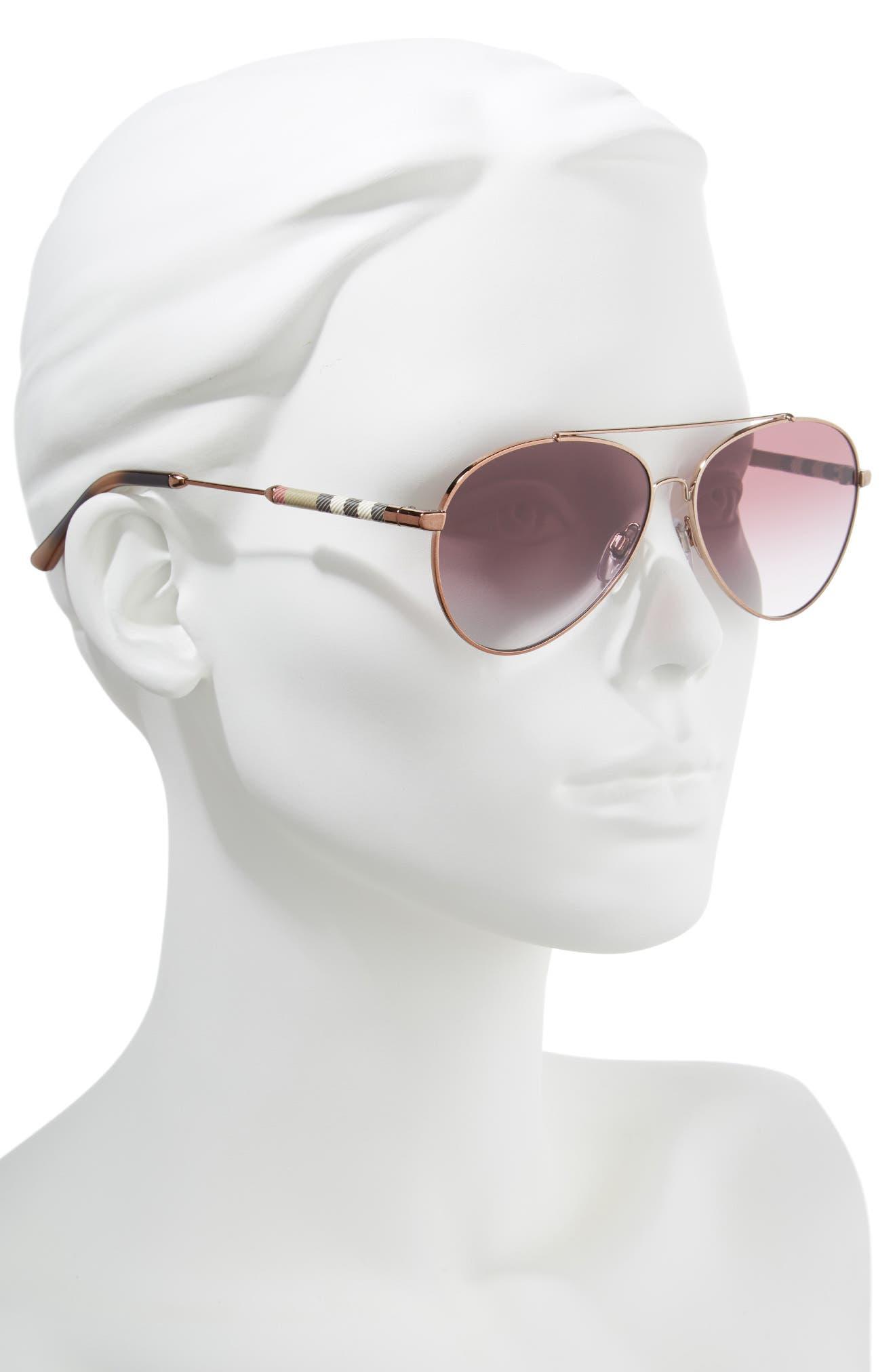 57mm Mirrored Aviator Sunglasses,                             Alternate thumbnail 2, color,                             VIOLET GRADIENT