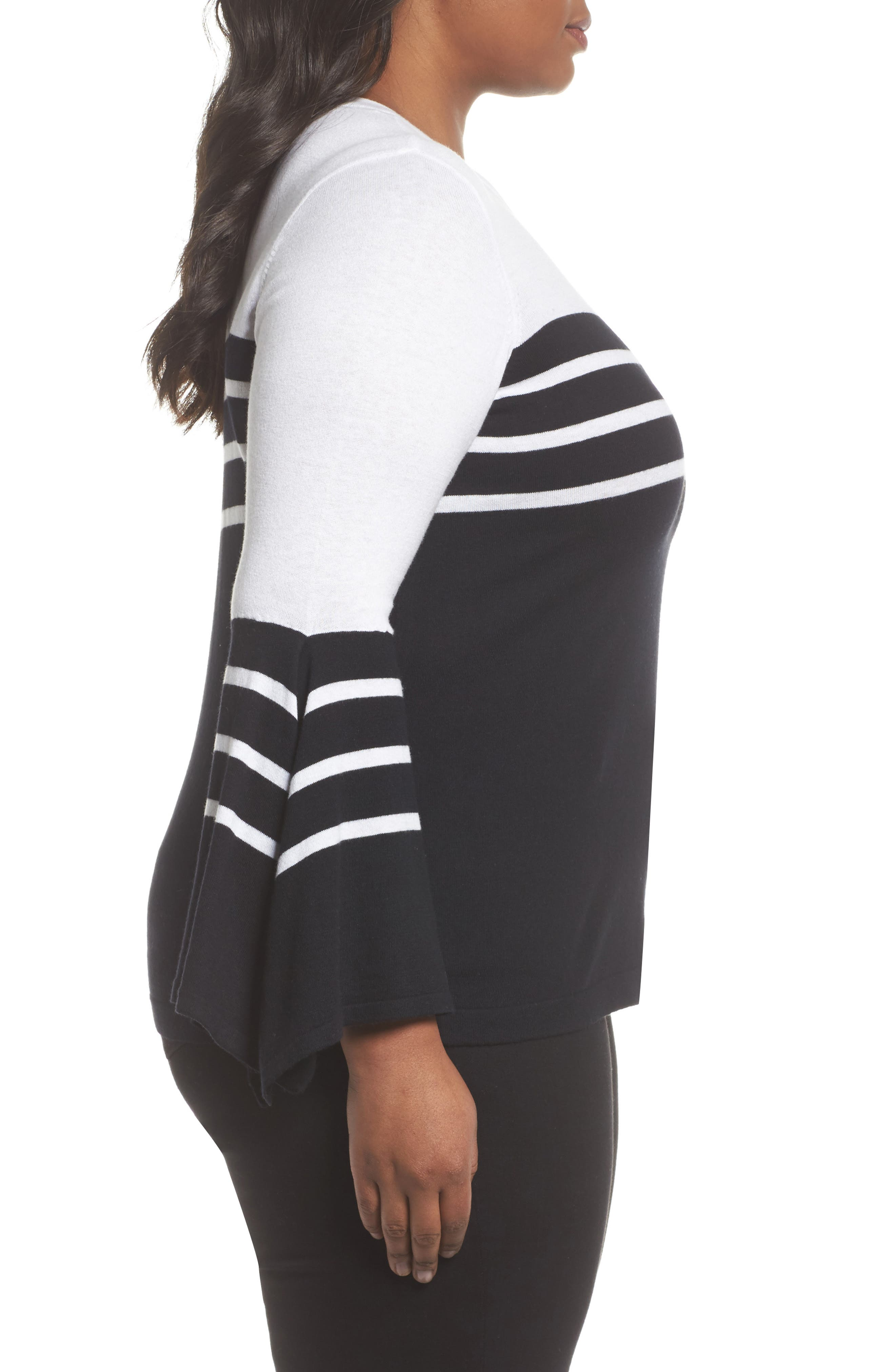 Handkerchief Sleeve Stripe Sweater,                             Alternate thumbnail 3, color,                             006