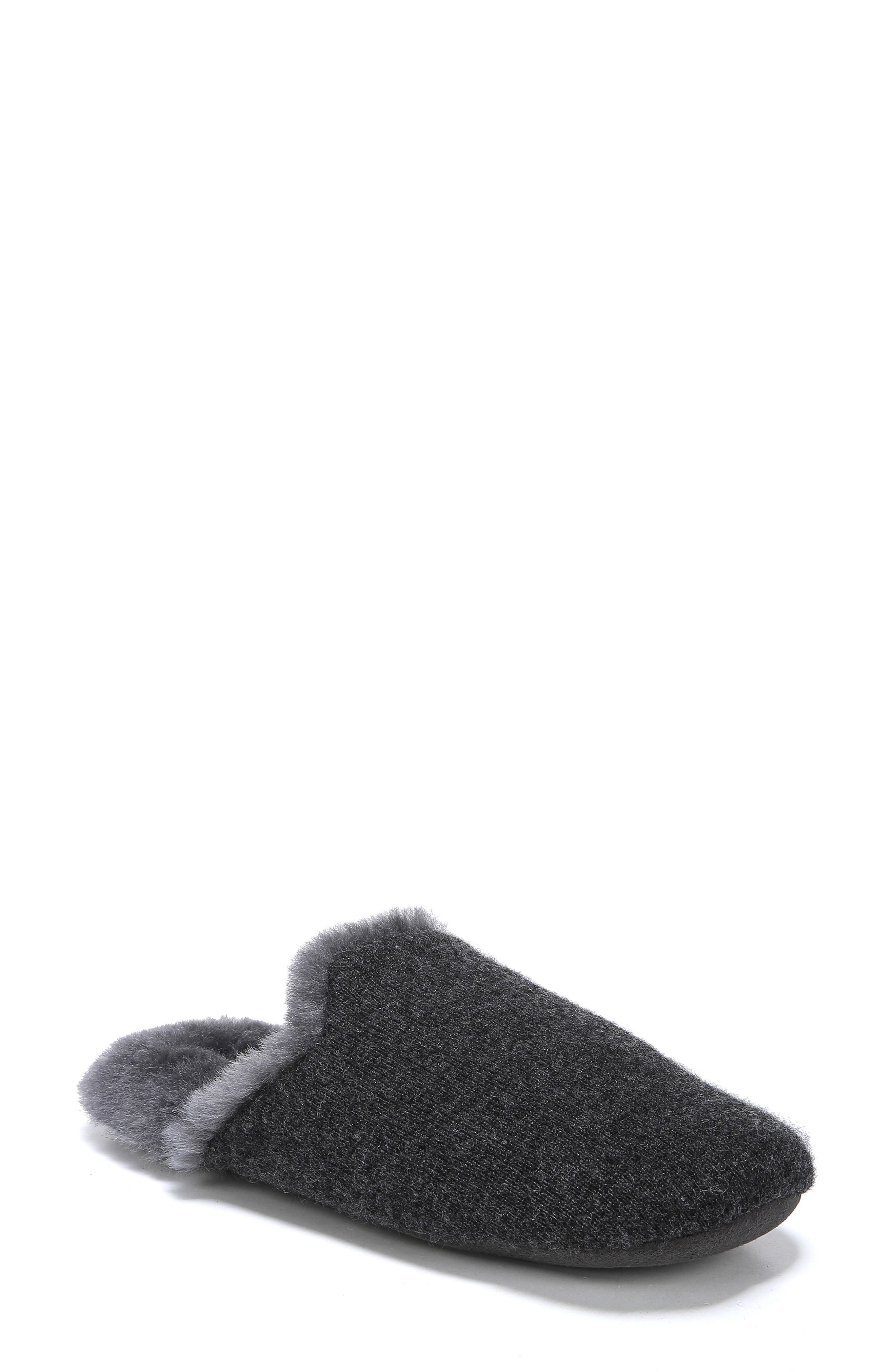 Cadie Genuine Shearling Slipper,                         Main,                         color, CHARCOAL