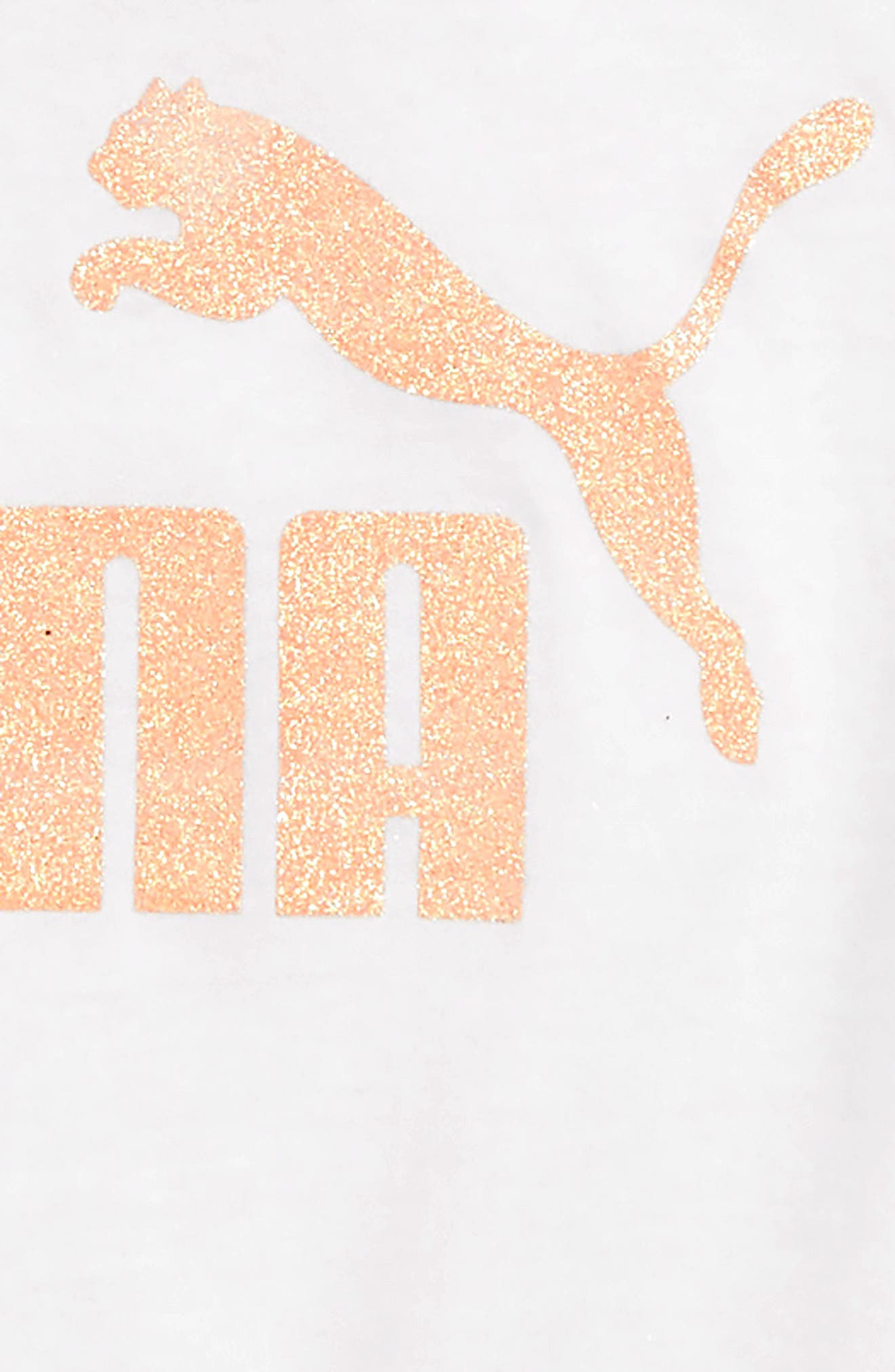 PUMA,                             Glitter Logo Tee,                             Alternate thumbnail 2, color,                             PUMA WHITE