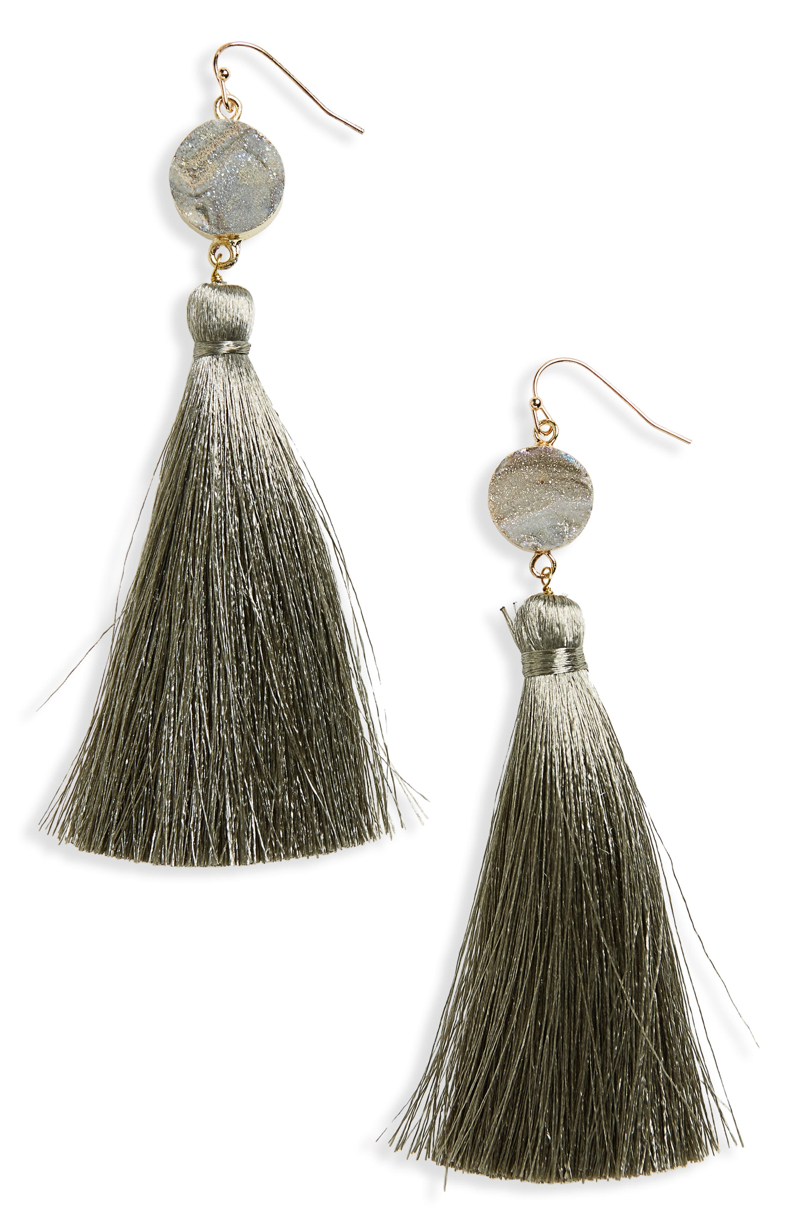 Sunstone Drusy Tassel Earrings,                             Main thumbnail 1, color,