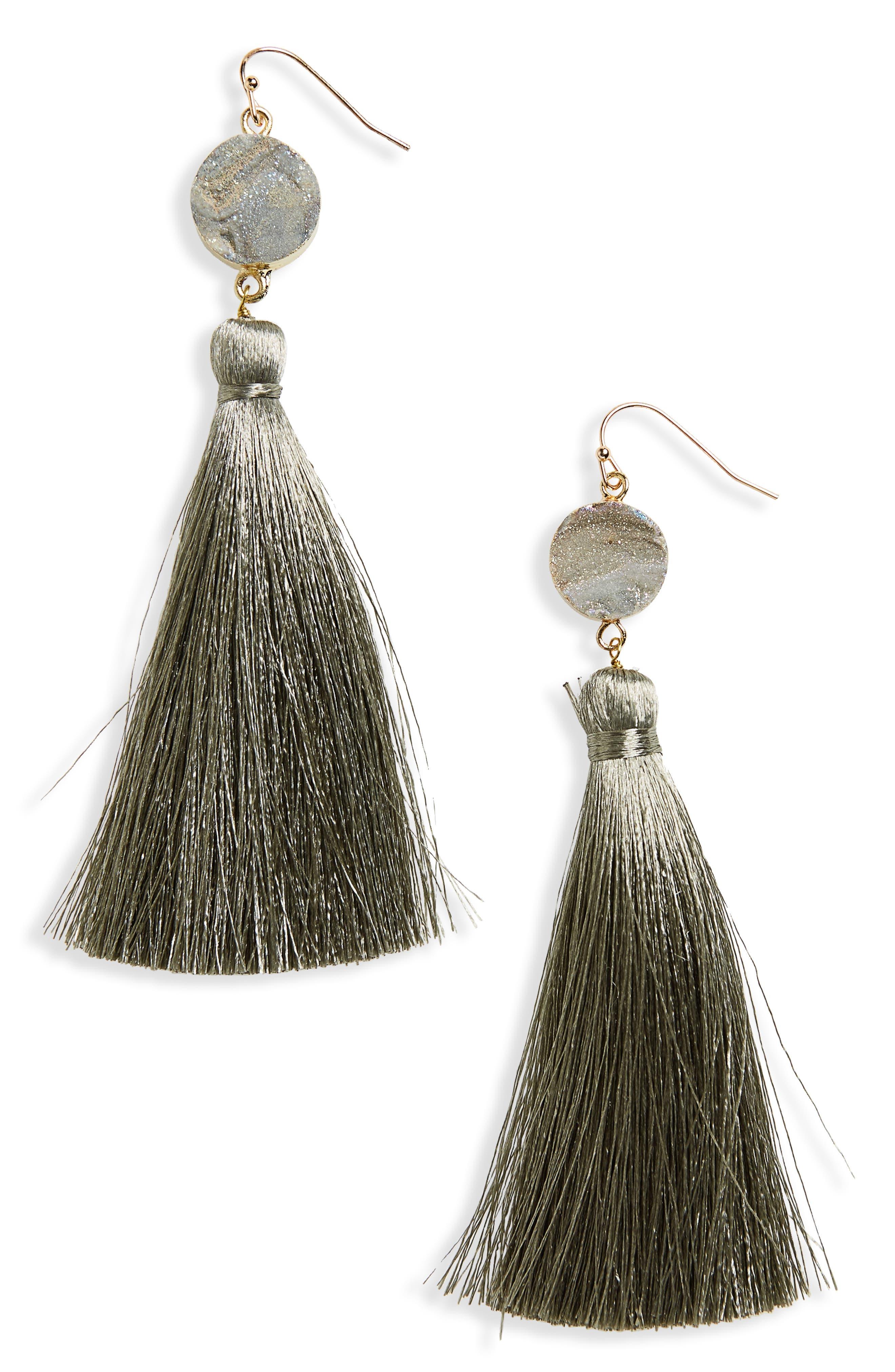Sunstone Drusy Tassel Earrings,                         Main,                         color,