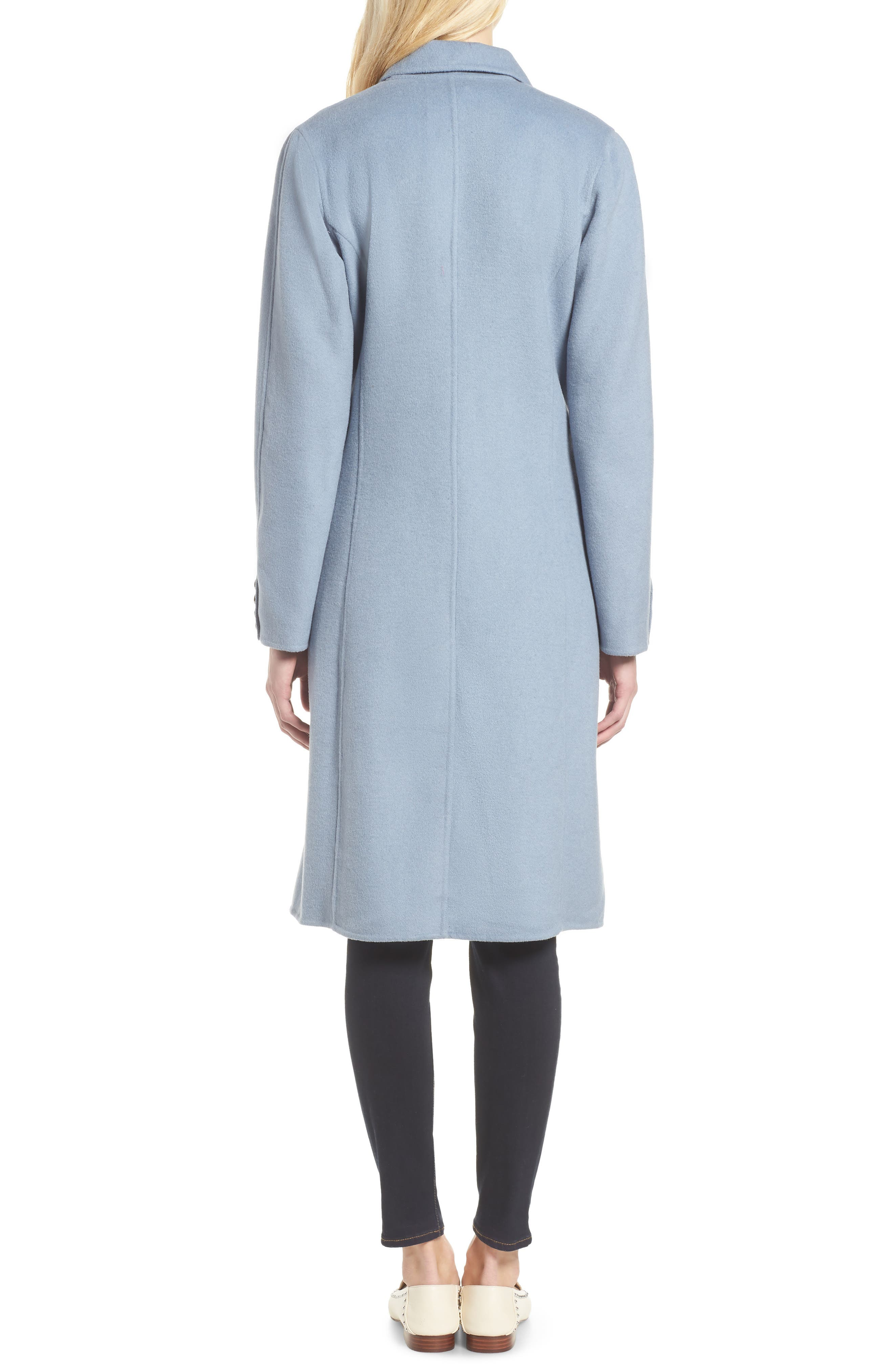 Taylor Double Breasted Wool Coat,                             Alternate thumbnail 2, color,                             PALE BLUE