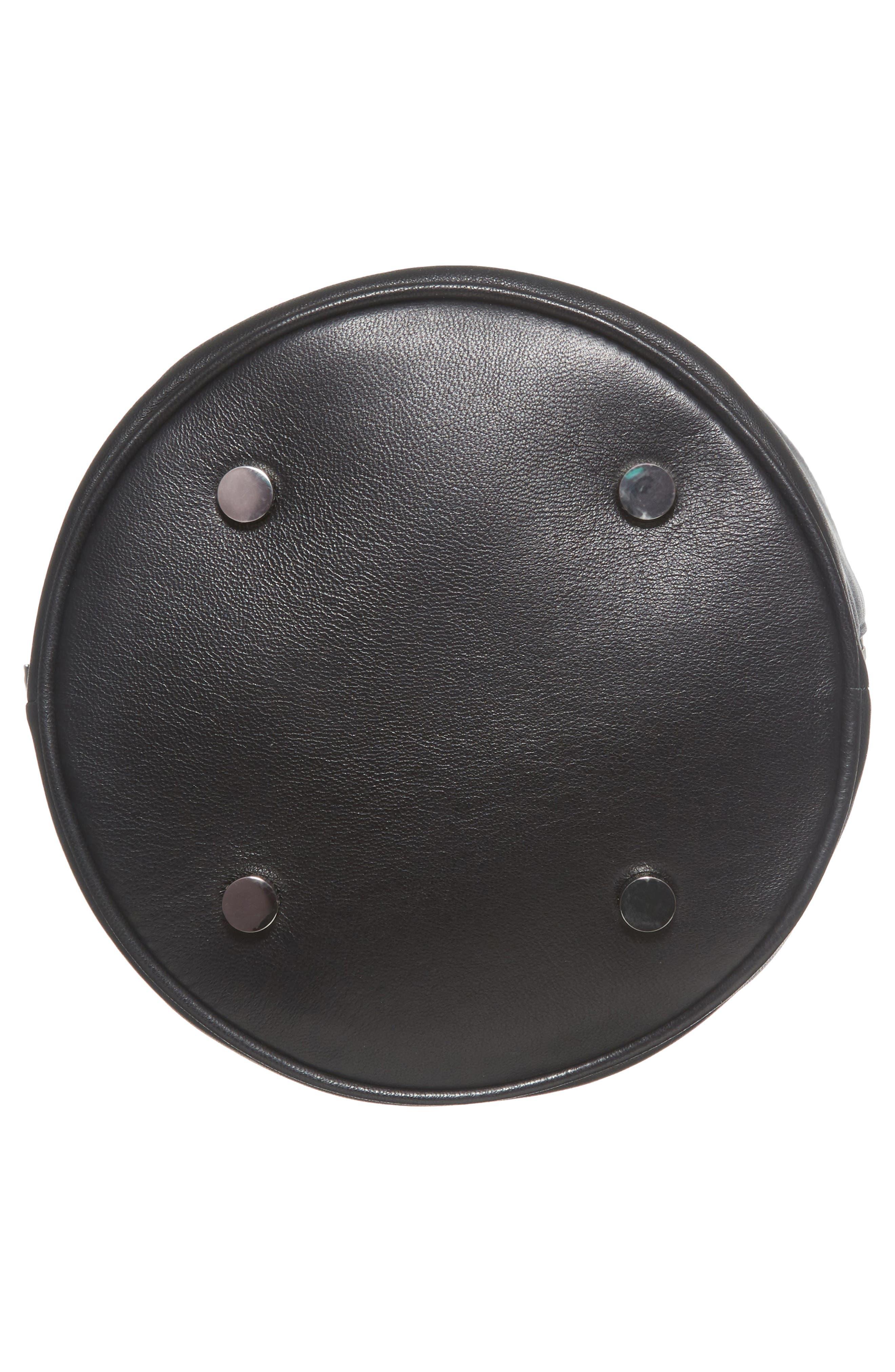 Attica Leather Bucket Bag,                             Alternate thumbnail 7, color,                             001