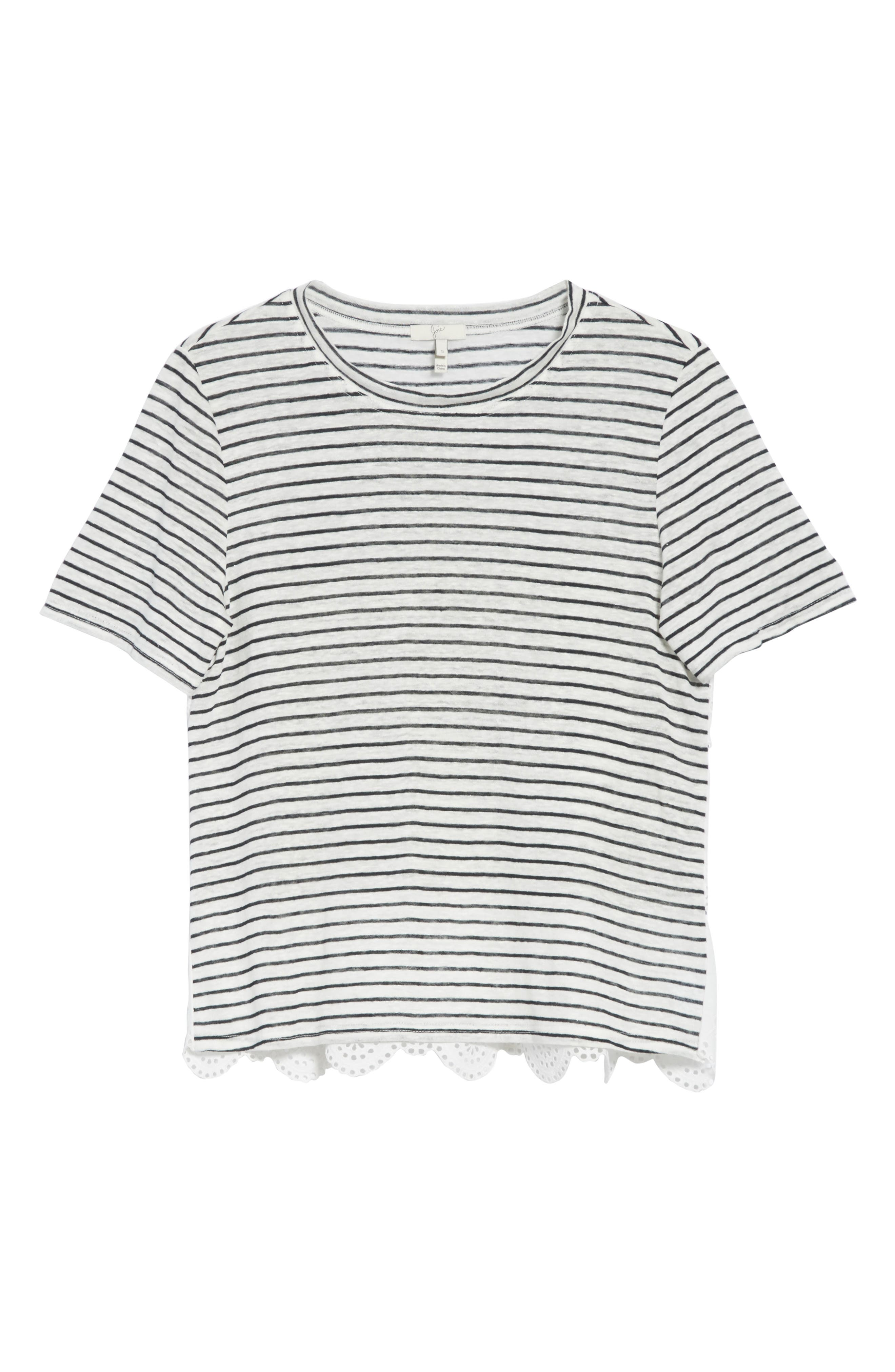Mikiyo Stripe Linen Tee,                             Alternate thumbnail 6, color,                             131