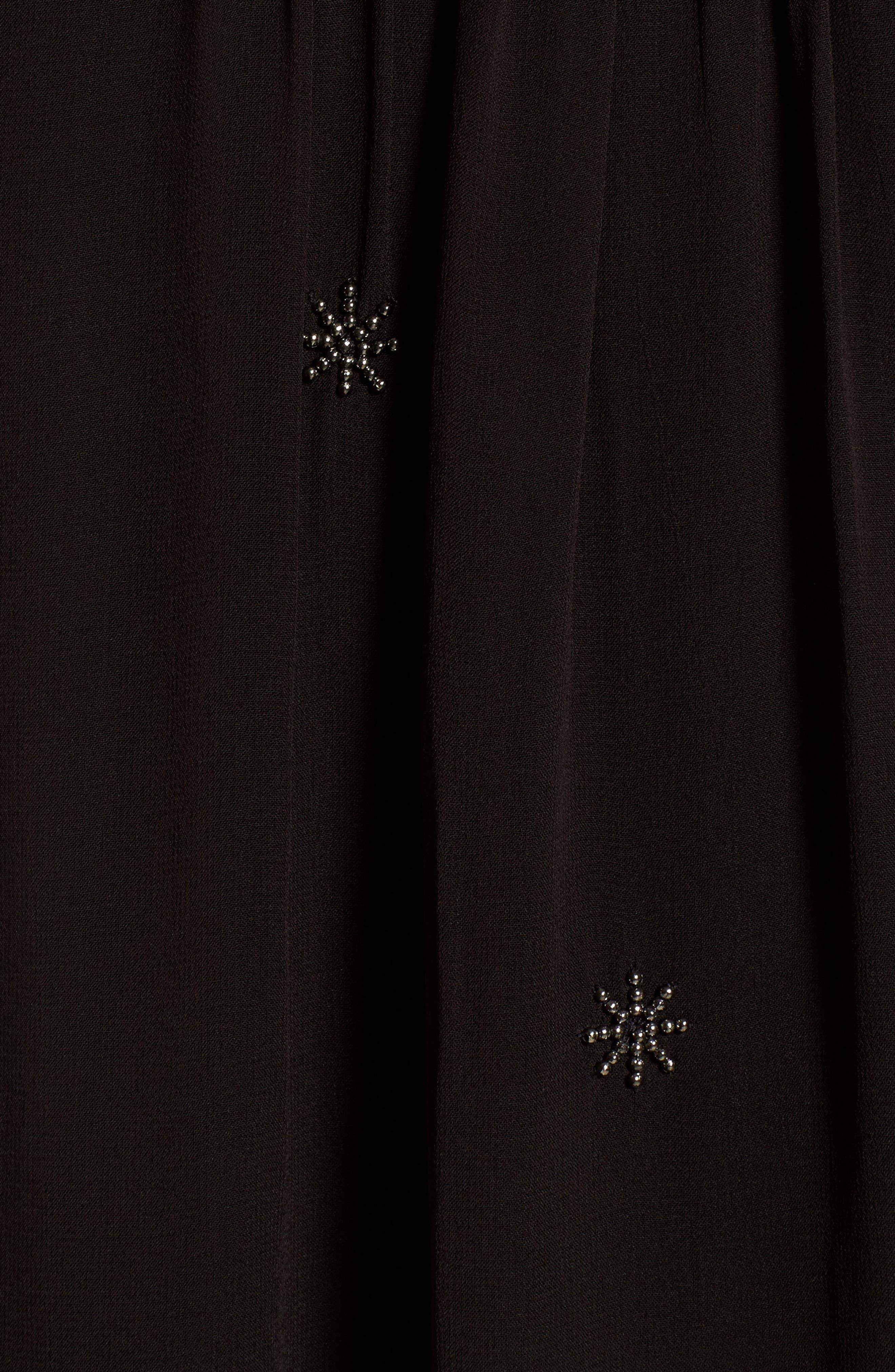 Beaded Velvet Georgette Dress,                             Alternate thumbnail 5, color,                             001
