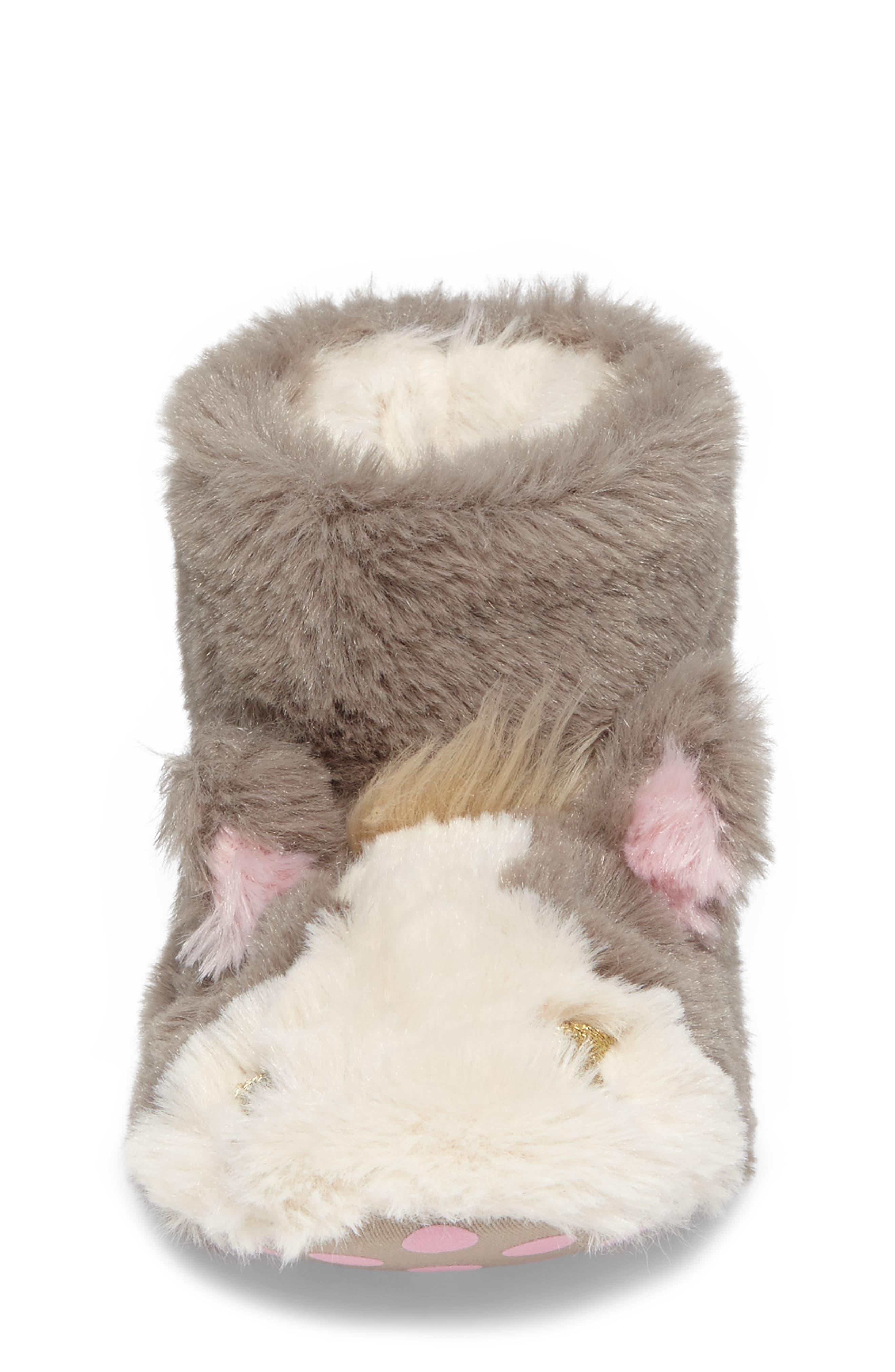 Faux Fur Horse Slipper,                             Alternate thumbnail 4, color,                             200
