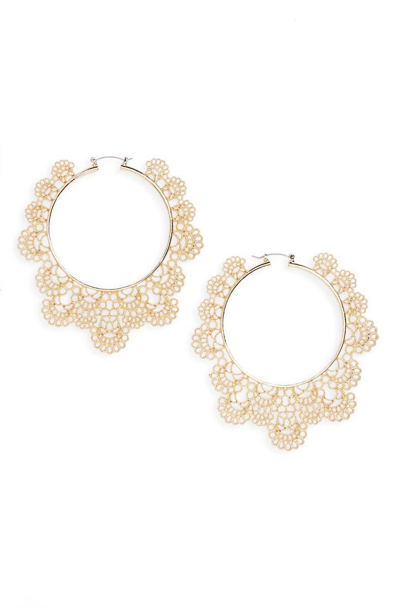 f451840216c BP. Metal Lace Hoop Earrings