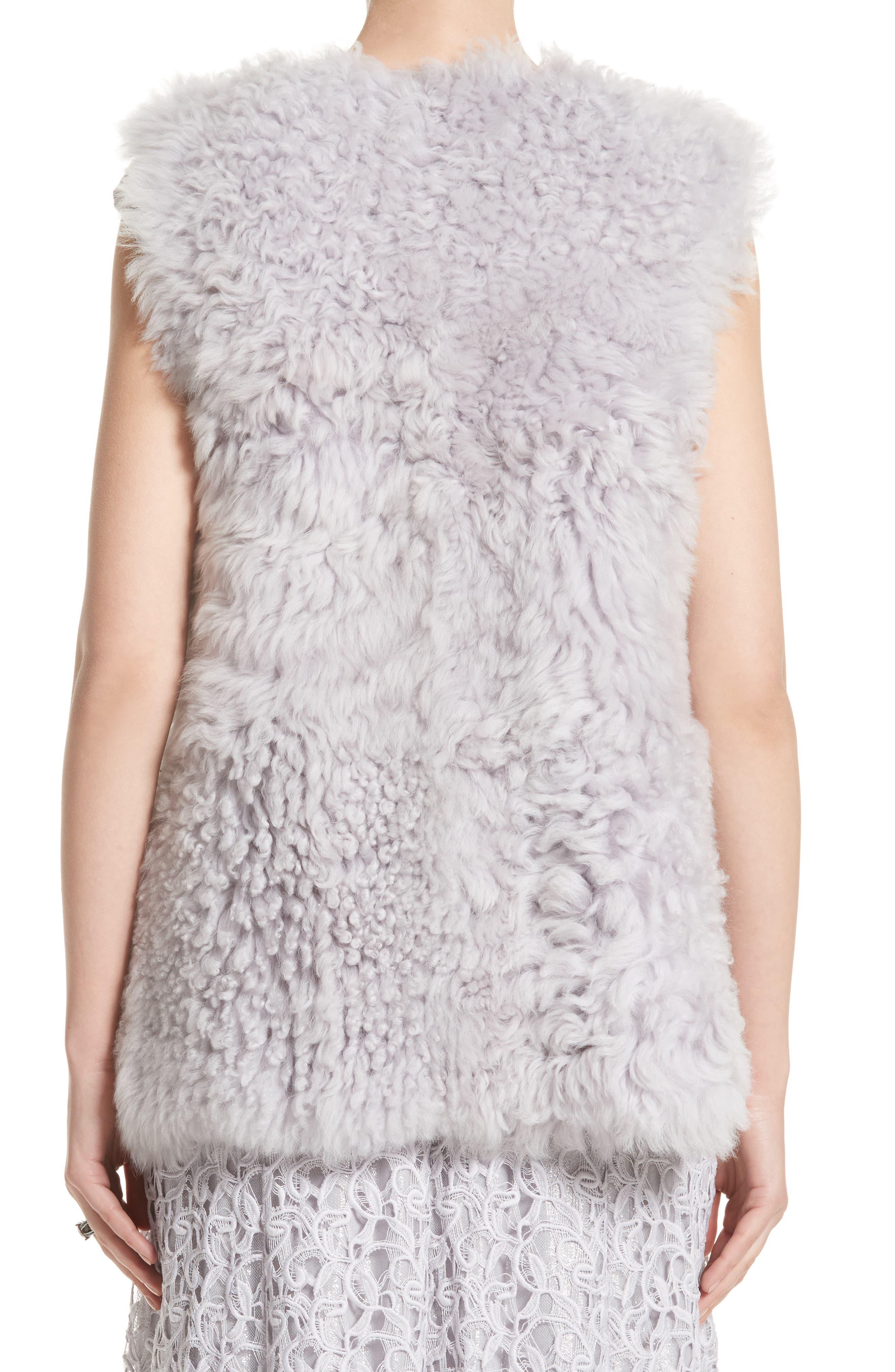 St John Collection Reversible Genuine Curly Lamb Fur Vest,                             Alternate thumbnail 3, color,                             500