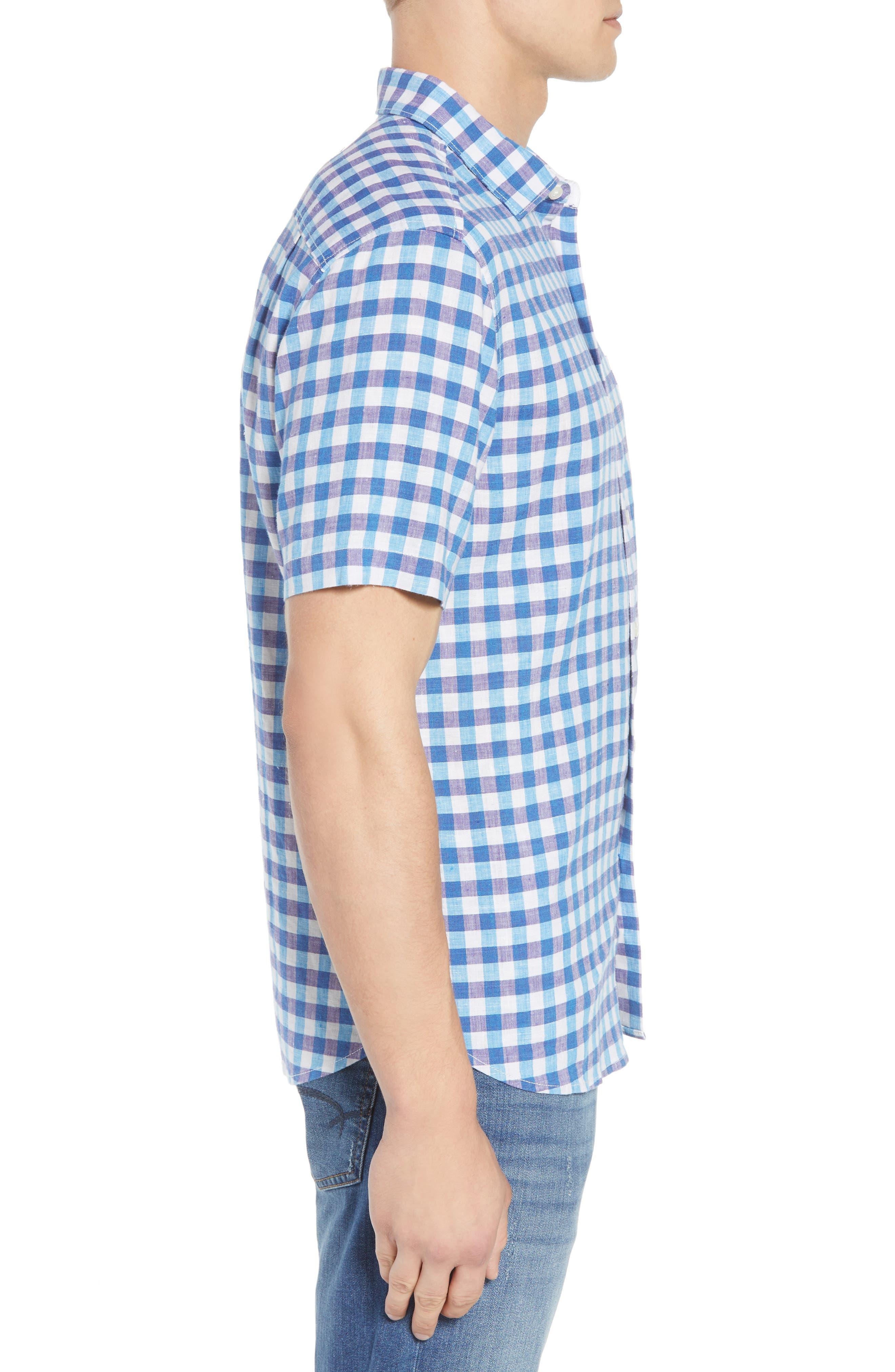Gingham Del Toro Linen Blend Sport Shirt,                             Alternate thumbnail 5, color,